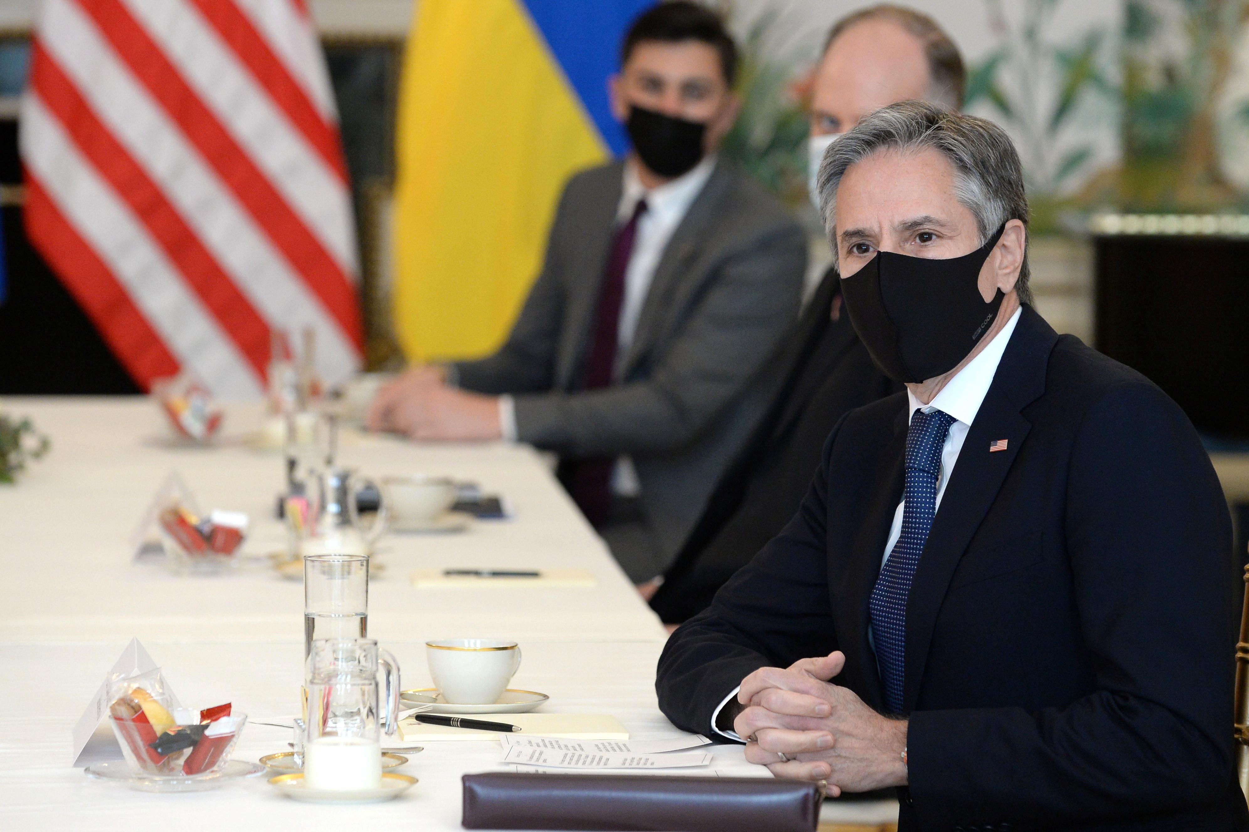 U.S. Secretary of State Antony Blinken meets with Ukrainian Foreign Minister Dmytro Kuleba (not seen) in Brussels, Belgium April 13, 2021. REUTERS/Johanna Geron/Pool
