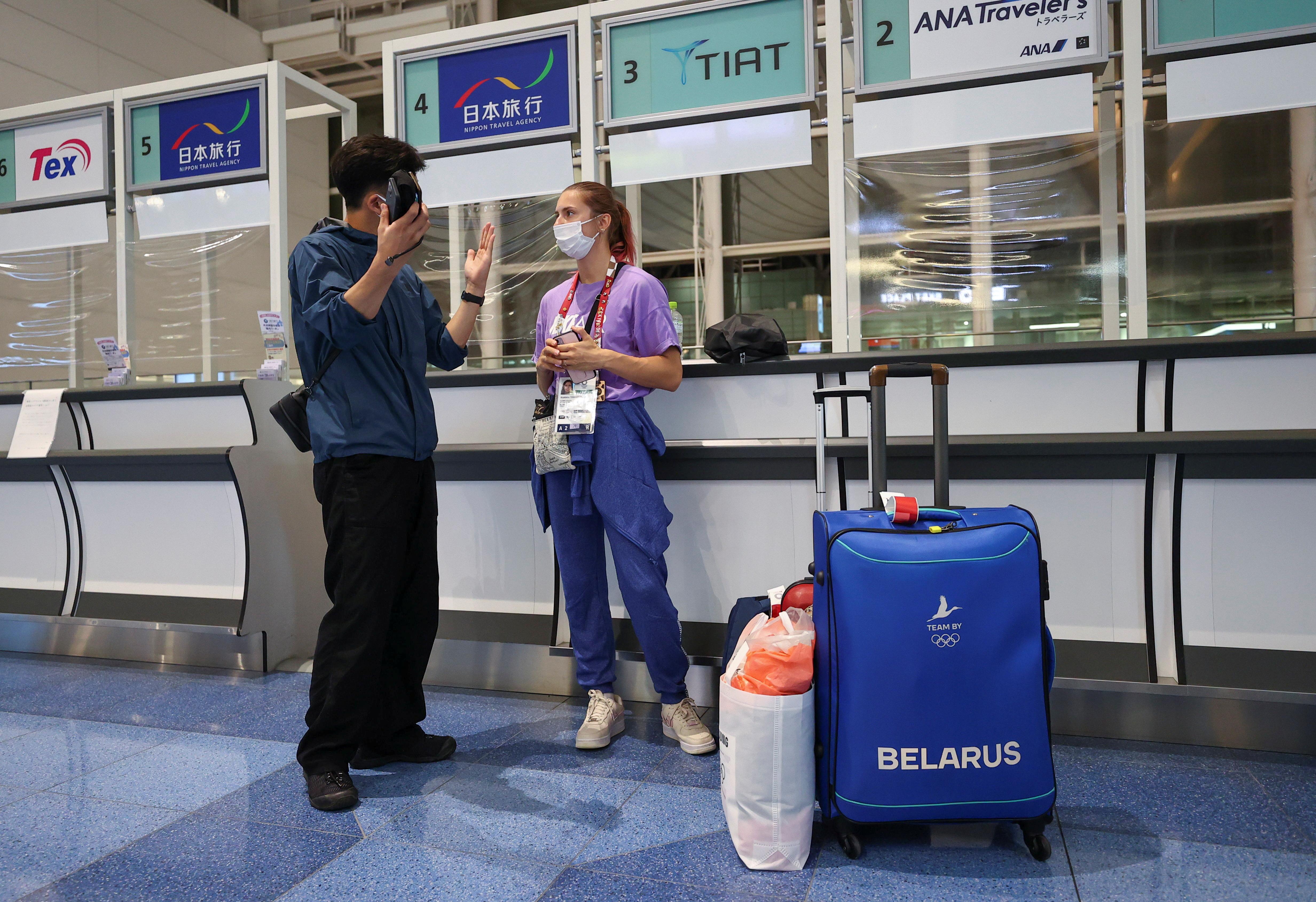Belarusian athlete Krystsina Tsimanouskaya is seen at Haneda international airport in Tokyo, Japan August 1, 2021.  REUTERS/Issei Kato