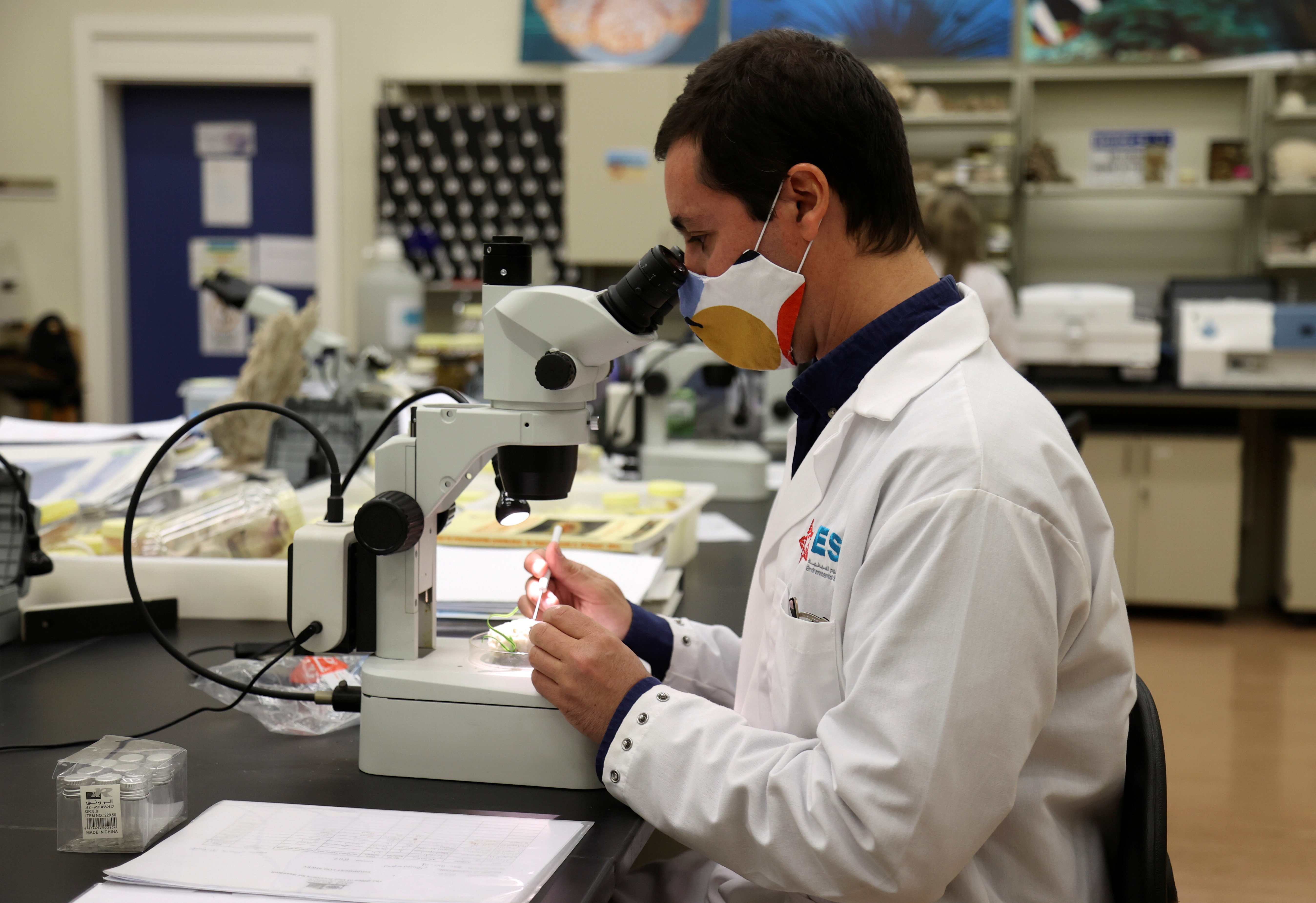 Dr. Pedro Range, research assistant professor, looks into a microscope at Qatar University Marine Biology Laboratory, in Doha, Qatar February 14, 2021. Picture taken February 14, 2021. REUTERS/Ibraheem Al Omari