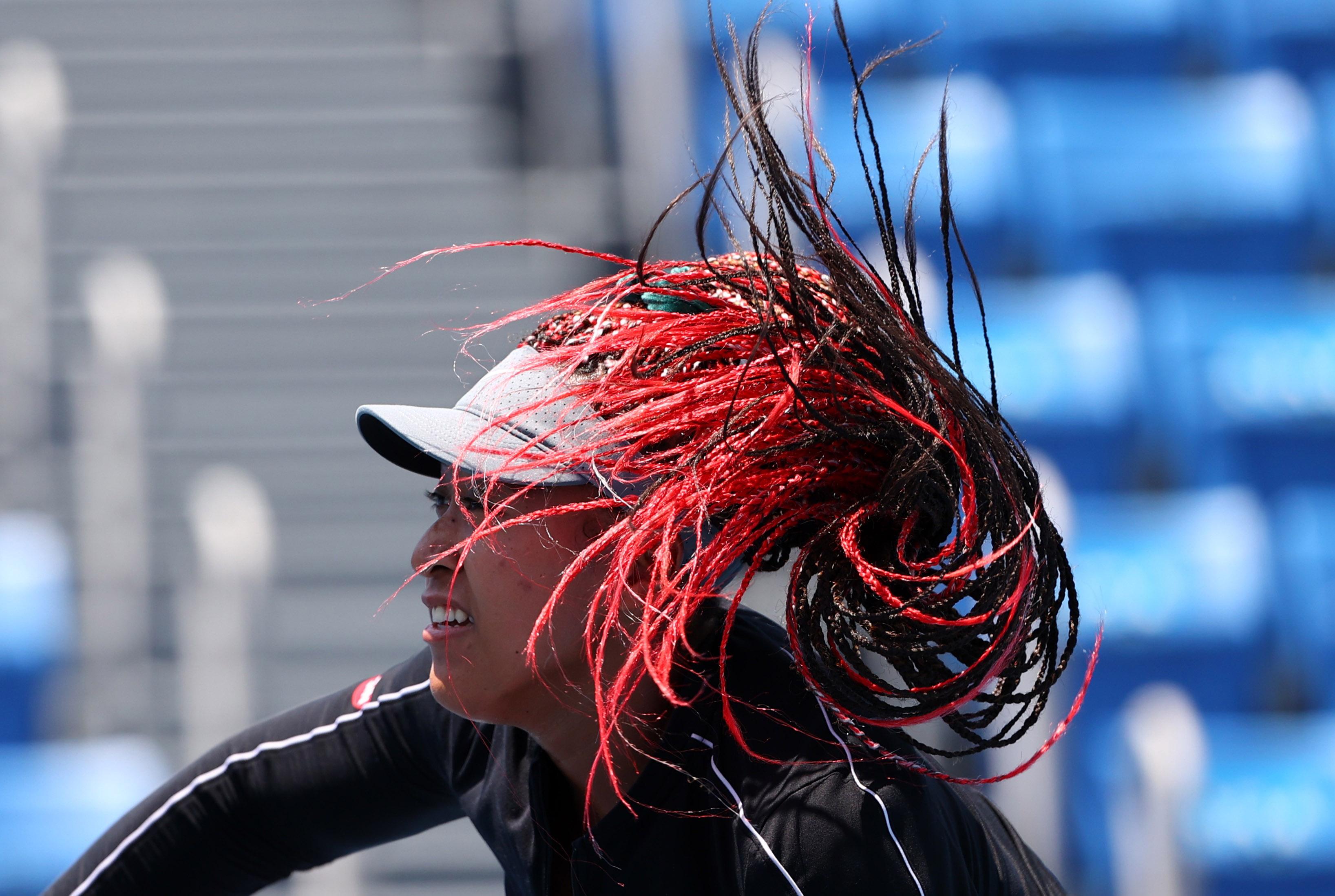 Tokyo 2020 Olympics - Tennis Training - Ariake Tennis Park, Tokyo, Japan - July 23, 2021 - Naomi Osaka of Japan during training. REUTERS/Mike Segar