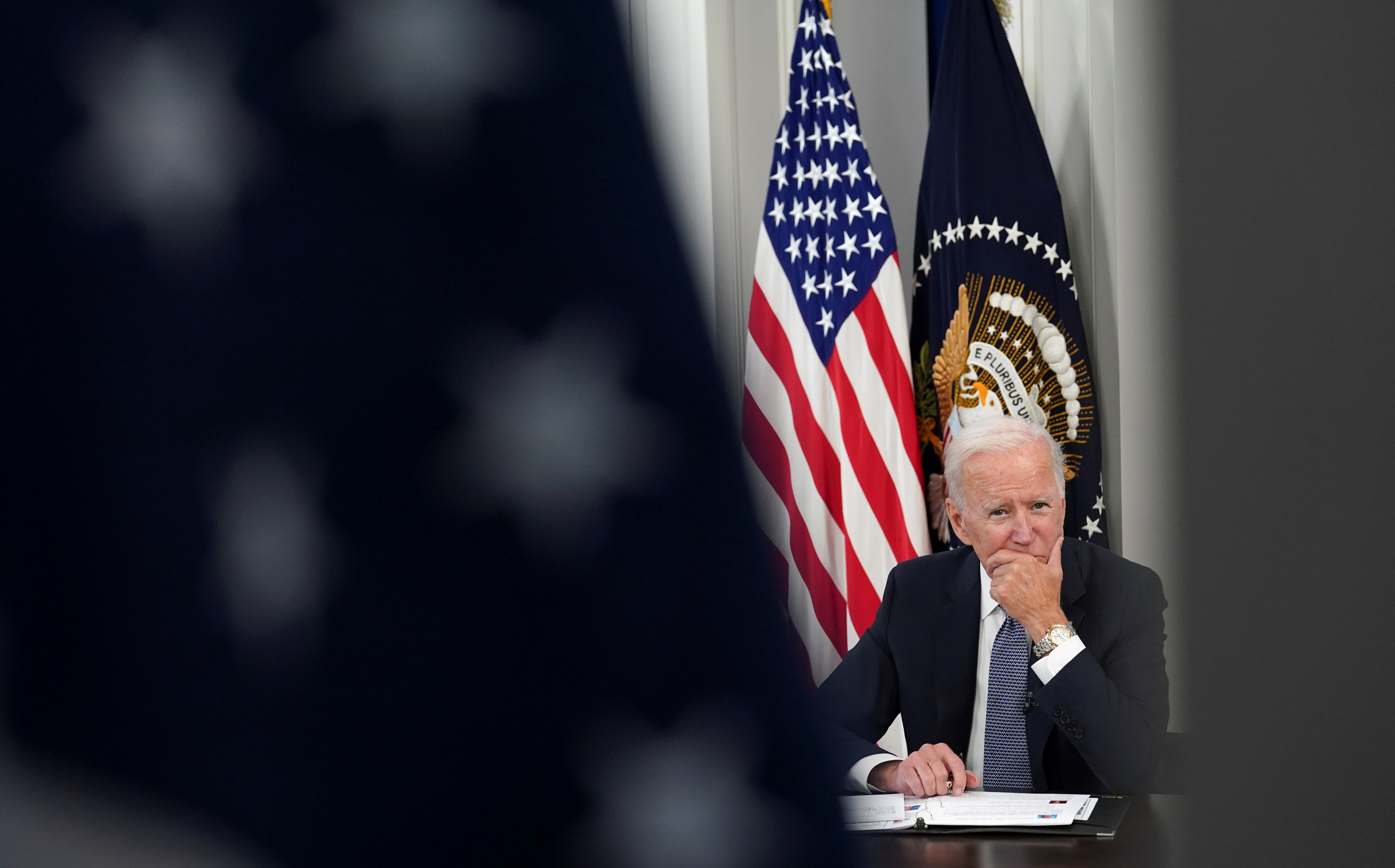U.S. President Joe Biden holds a meeting with business leaders and CEOs about the debt limit at the White House in Washington, U.S., October 6, 2021. REUTERS/Kevin Lamarque/File Photo