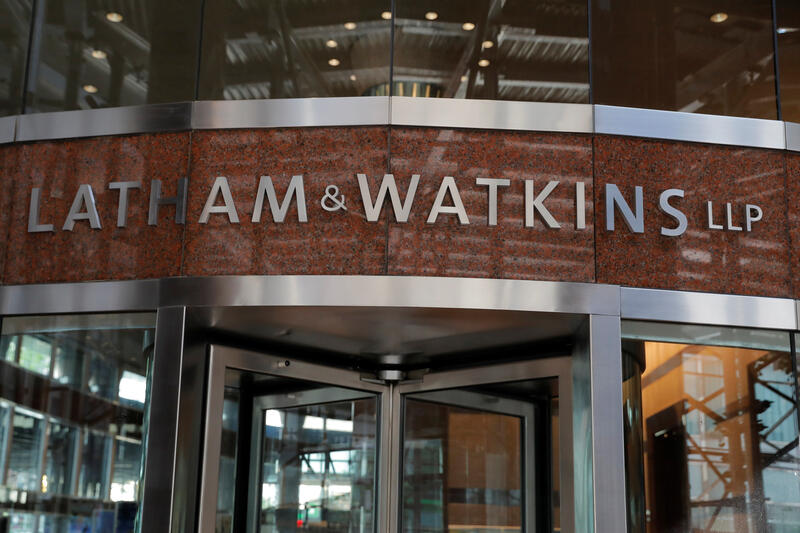 Signage is seen on the exterior of the building where law firm Latham & Watkins LLP is located in Manhattan, New York City, August 17, 2020. REUTERS/Andrew Kelly