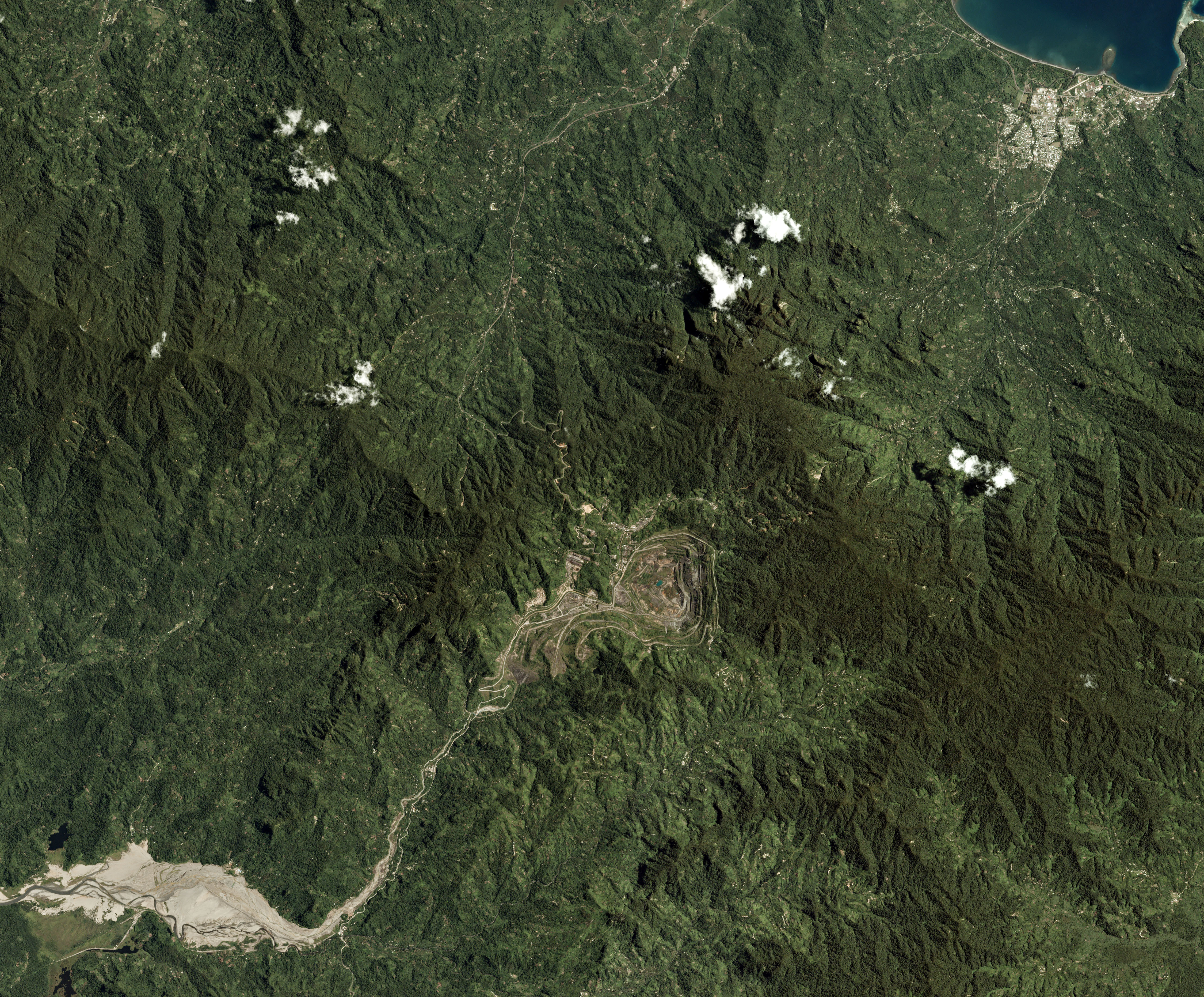The Panguna mine is seen in Bougainville, Paua New Guinea, in this Planet Labs satellite photo received by Reuters September 26, 2017. Trevor Hammond/Planet Labs/Handout via REUTERS/File photo