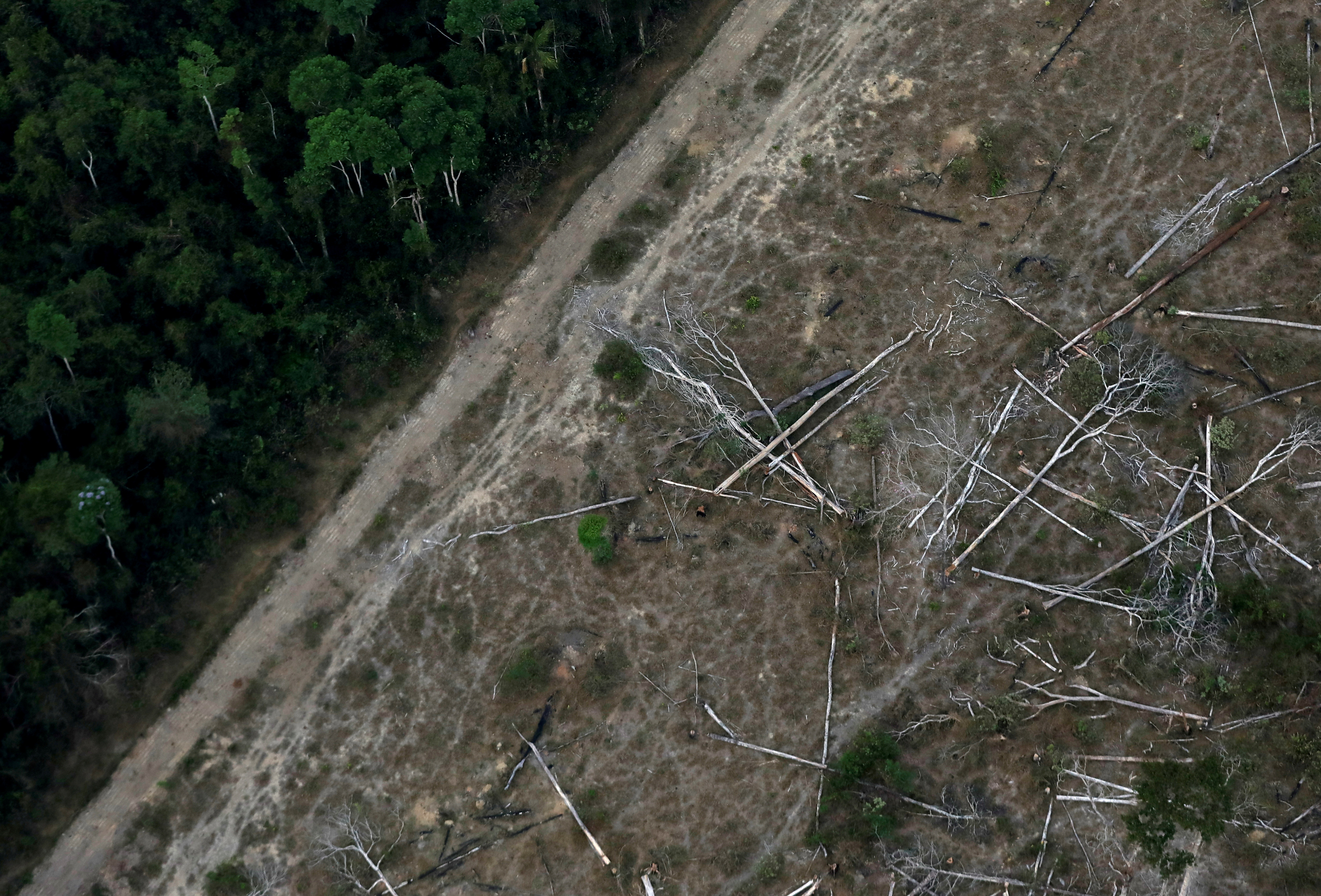 An aerial view shows a deforested plot of the Amazon near Porto Velho, Rondonia State, Brazil, September 17, 2019. REUTERS/Bruno Kelly