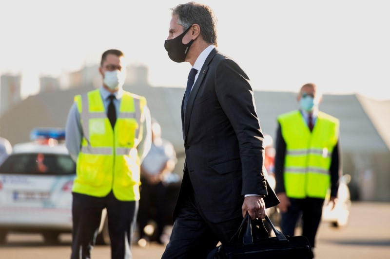 U.S. Secretary of State Antony Blinken walks to his car after disembarking from his airplane upon arrival ahead of the NATO Summit at Brussels Airport in Belgium, June 12, 2021. Saul Loeb/Pool via REUTERS