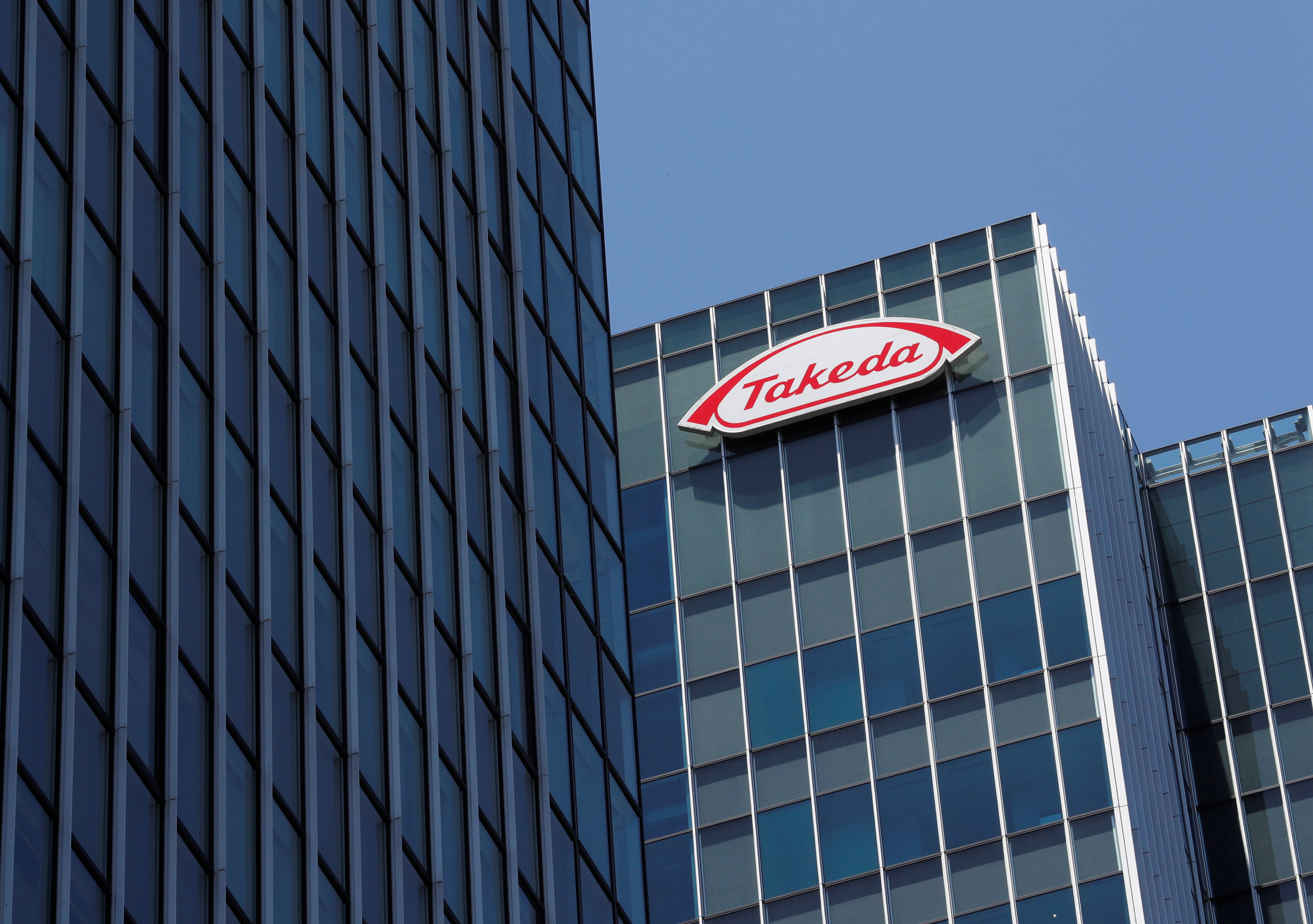 Takeda Pharmaceutical Co's logo is seen at its new headquarters in Tokyo, Japan, July 2, 2018. REUTERS/Kim Kyung-Hoon