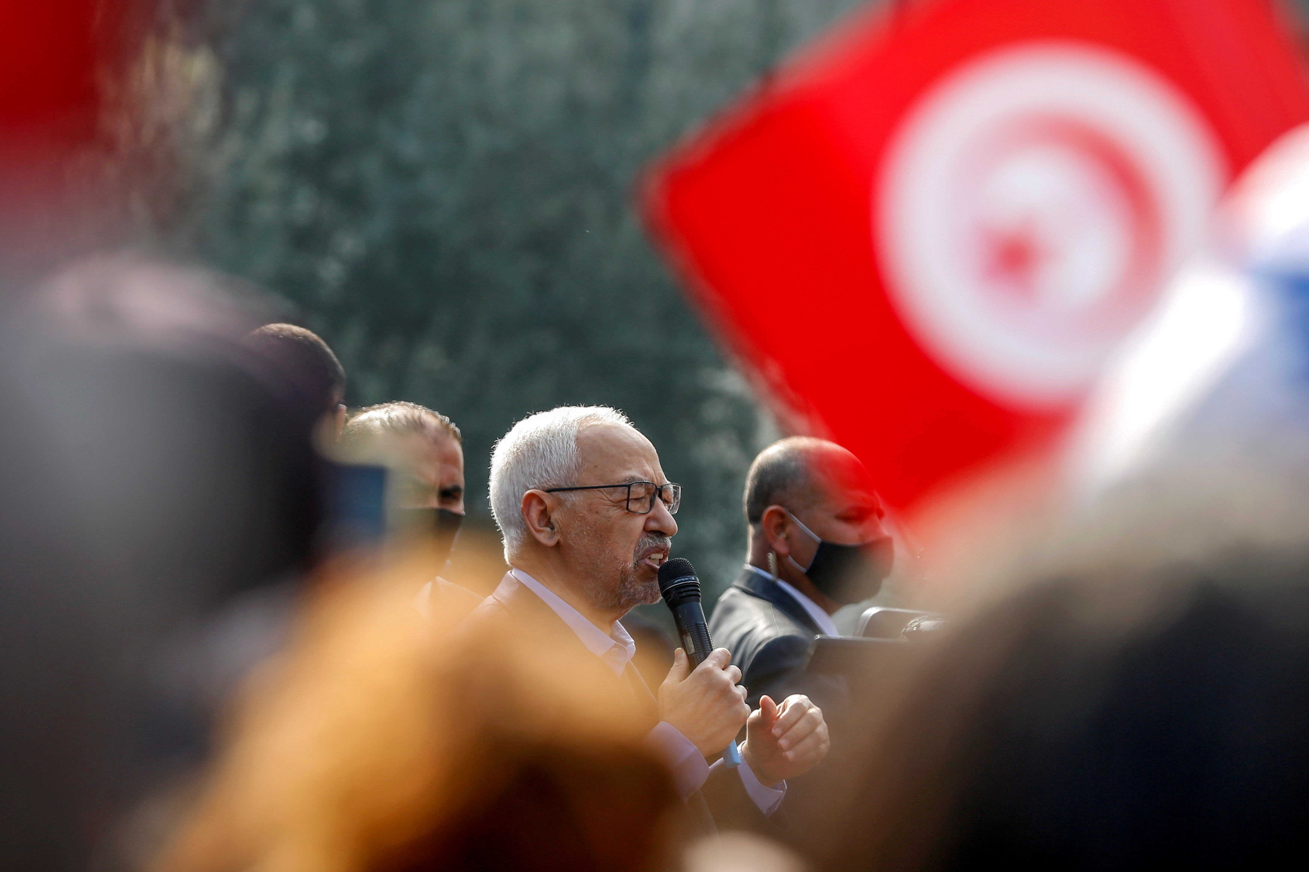 Parliament Speaker Rached Ghannouchi, head of the moderate Islamist Ennahda, speaks to supporters during a rally in opposition to President Kais Saied, in Tunis, Tunisia February 27, 2021. REUTERS/Zoubeir Souissi/File Photo