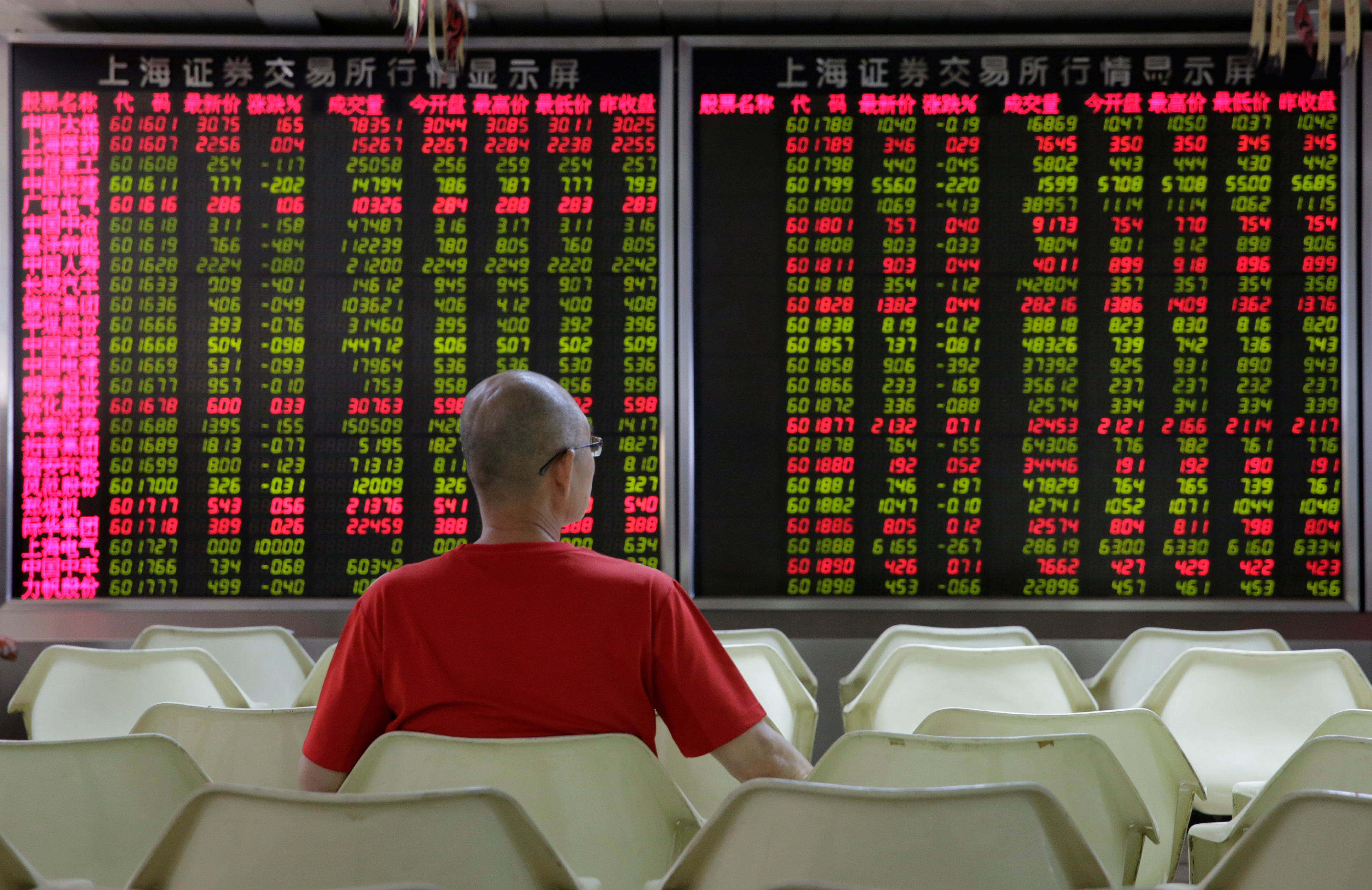 An investor watches stock prices at a brokerage office in Beijing, China July 6, 2018. REUTERS/Jason Lee/Files