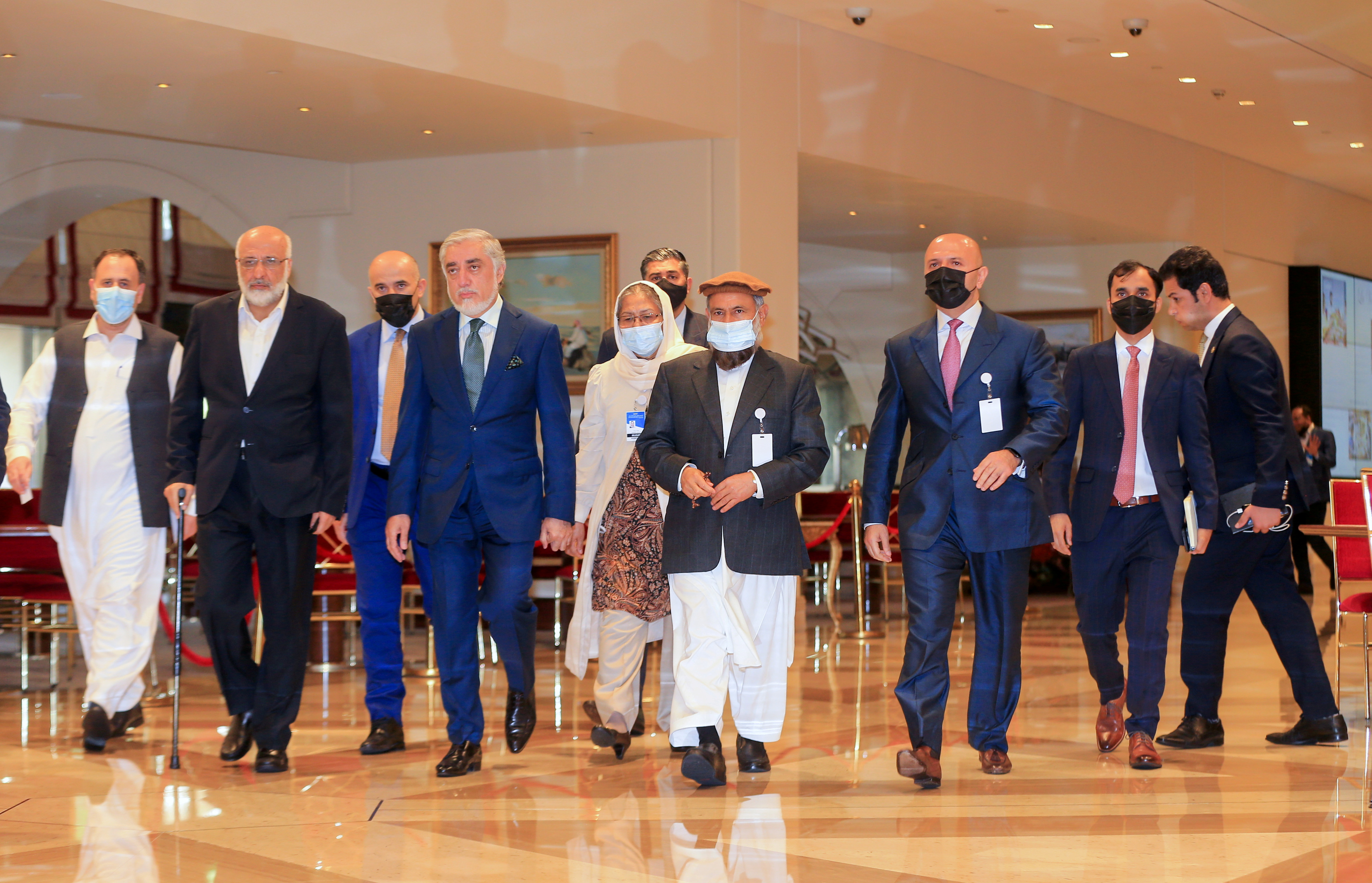 Abdullah Abdullah, the Chairman of Afghanistan's High Council for National Reconciliation, arrives for Afghan peace talks in Doha, Qatar, August 12, 2021. REUTERS/Hussein Sayed