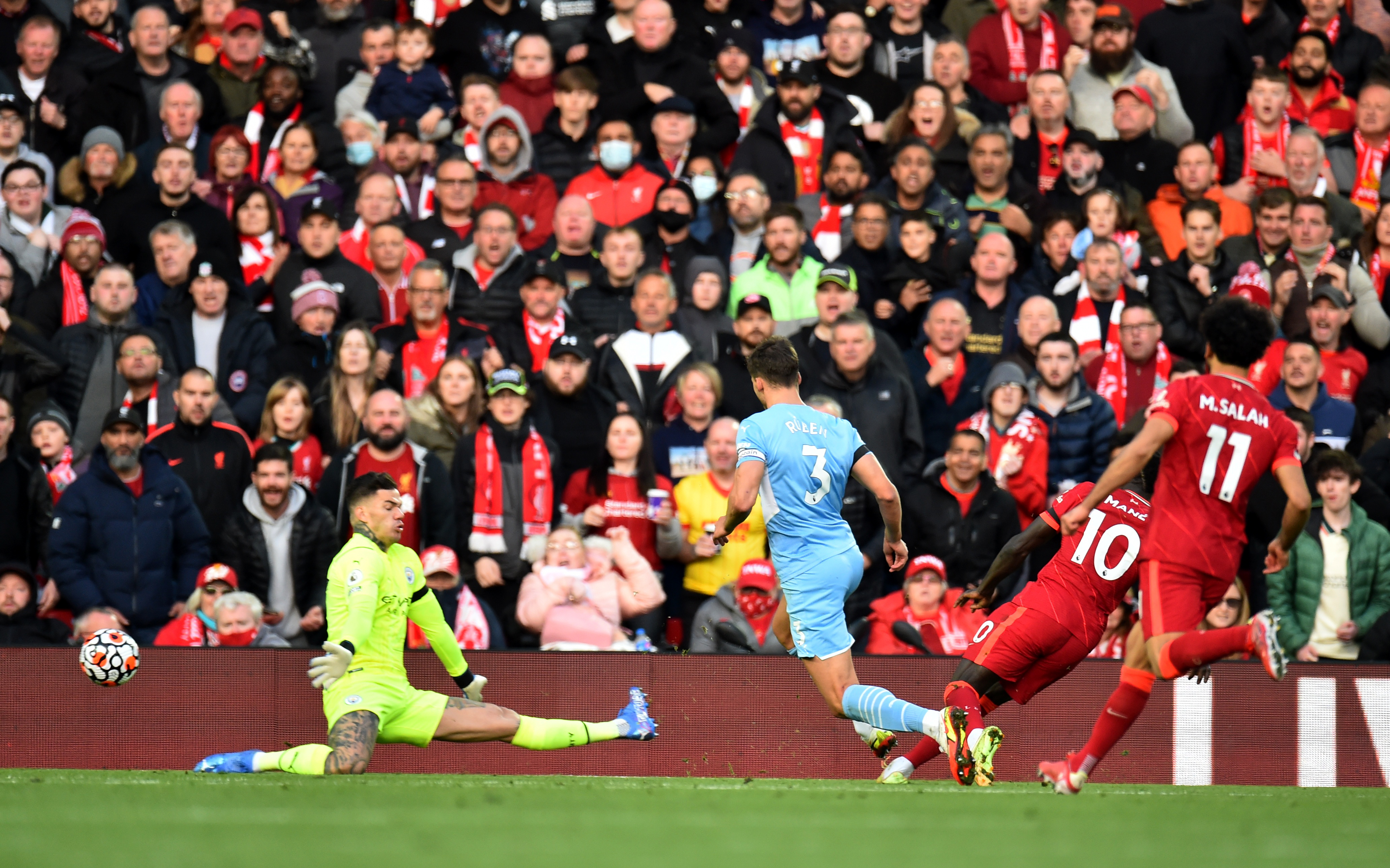 Soccer Football - Premier League - Liverpool v Manchester City - Anfield, Liverpool, Britain - October 3, 2021 Liverpool's Sadio Mane scores their first goal REUTERS/Peter Powell
