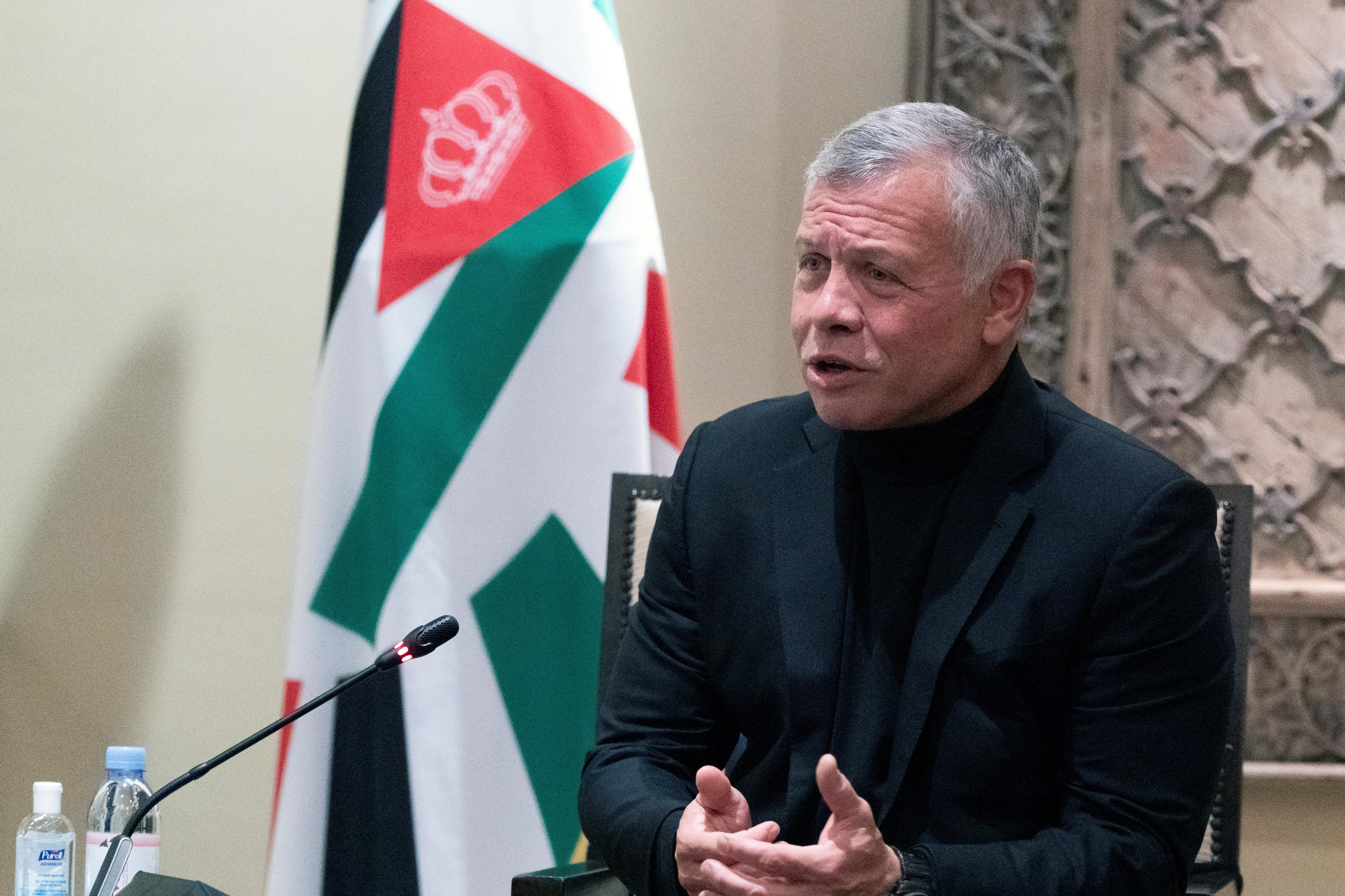 Jordan's King Abdullah II speaks during a meeting with Secretary of State Antony Blinken at Bayt Al Urdon, in Amman, Jordan May 26, 2021. Alex Brandon/Pool via REUTERS