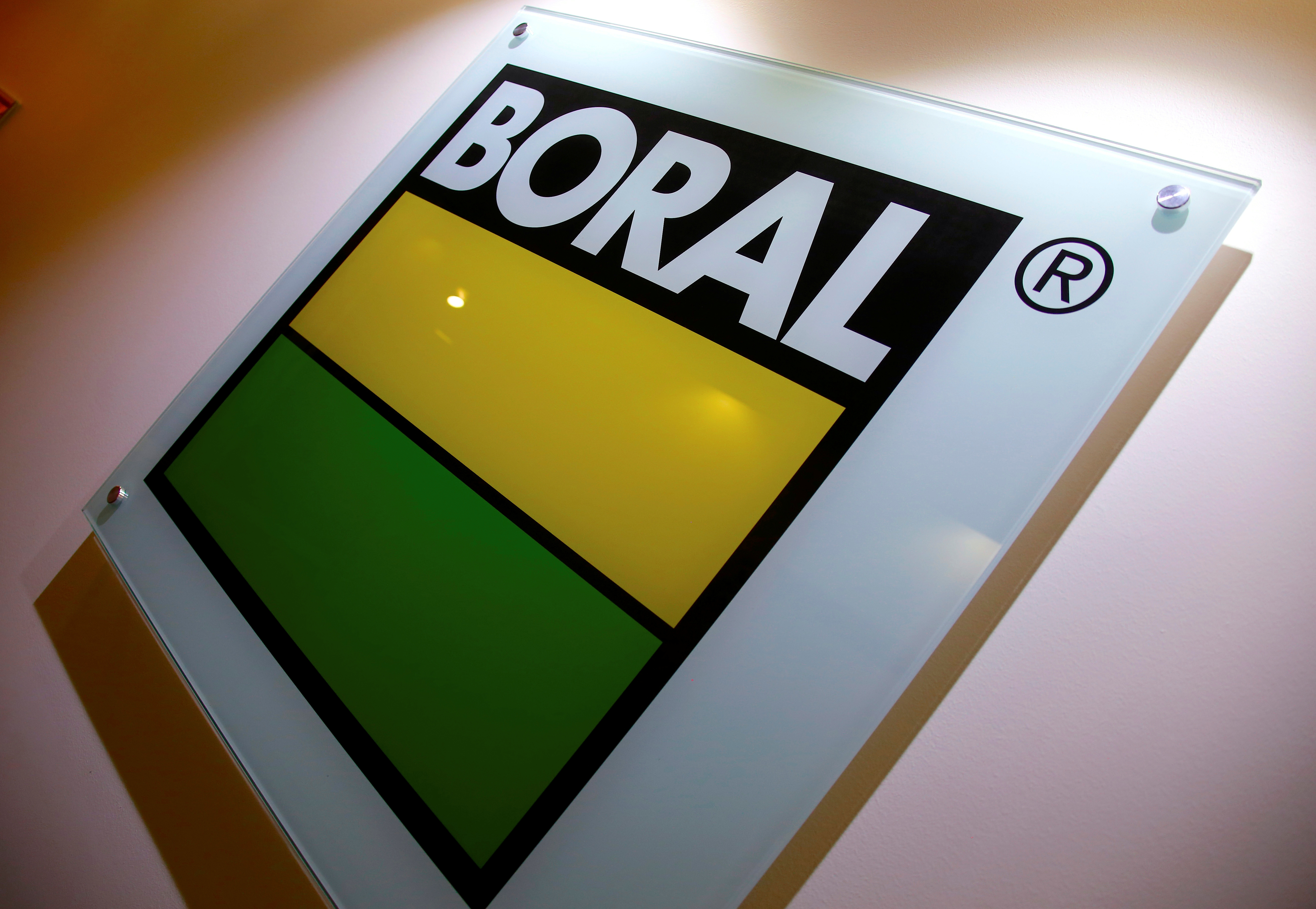 The logo of Boral Ltd, Australia's biggest supplier of construction materials and building products, adorns a wall in the foyer of their Sydney headquarters in Australia, November 21, 2016.     REUTERS/David Gray