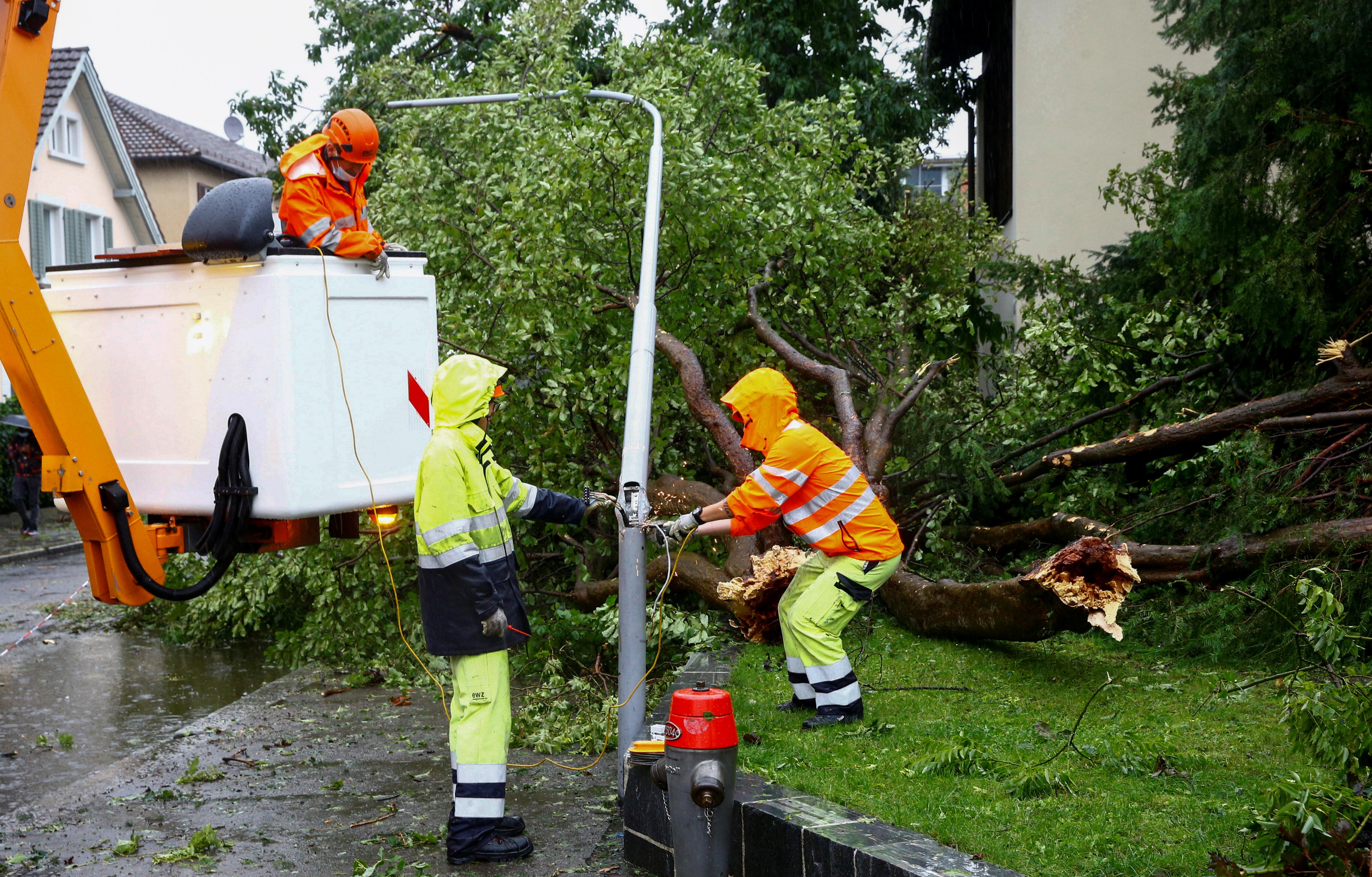 İşçilər İsveçrənin Sürix şəhərində 13 iyul 2021-ci ildə göy gurultulu leysan və leysan yağış zamanı qırılan ağacın zədələdiyi lampanı kəsdilər. REUTERS / Arnd Wiegmann