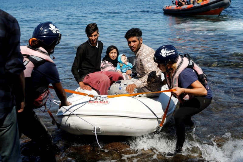 A small inflatable boat carrying migrants from Afghanistan is towed by rescuers of the Refugee Rescue NGO, near Skala Sikamias, on the island of Lesbos, Greece, September 16, 2019. REUTERS/Giorgos Moutafis/File Photo