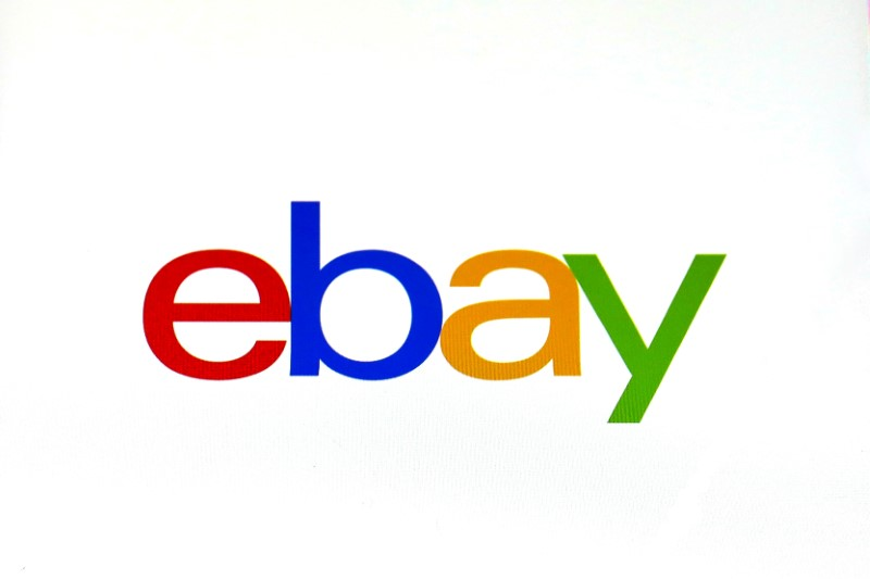 The eBay logo is pictured on a screen in this photo illustration in New York, U.S., July 23, 2019. REUTERS/Brendan McDermid/Illustration