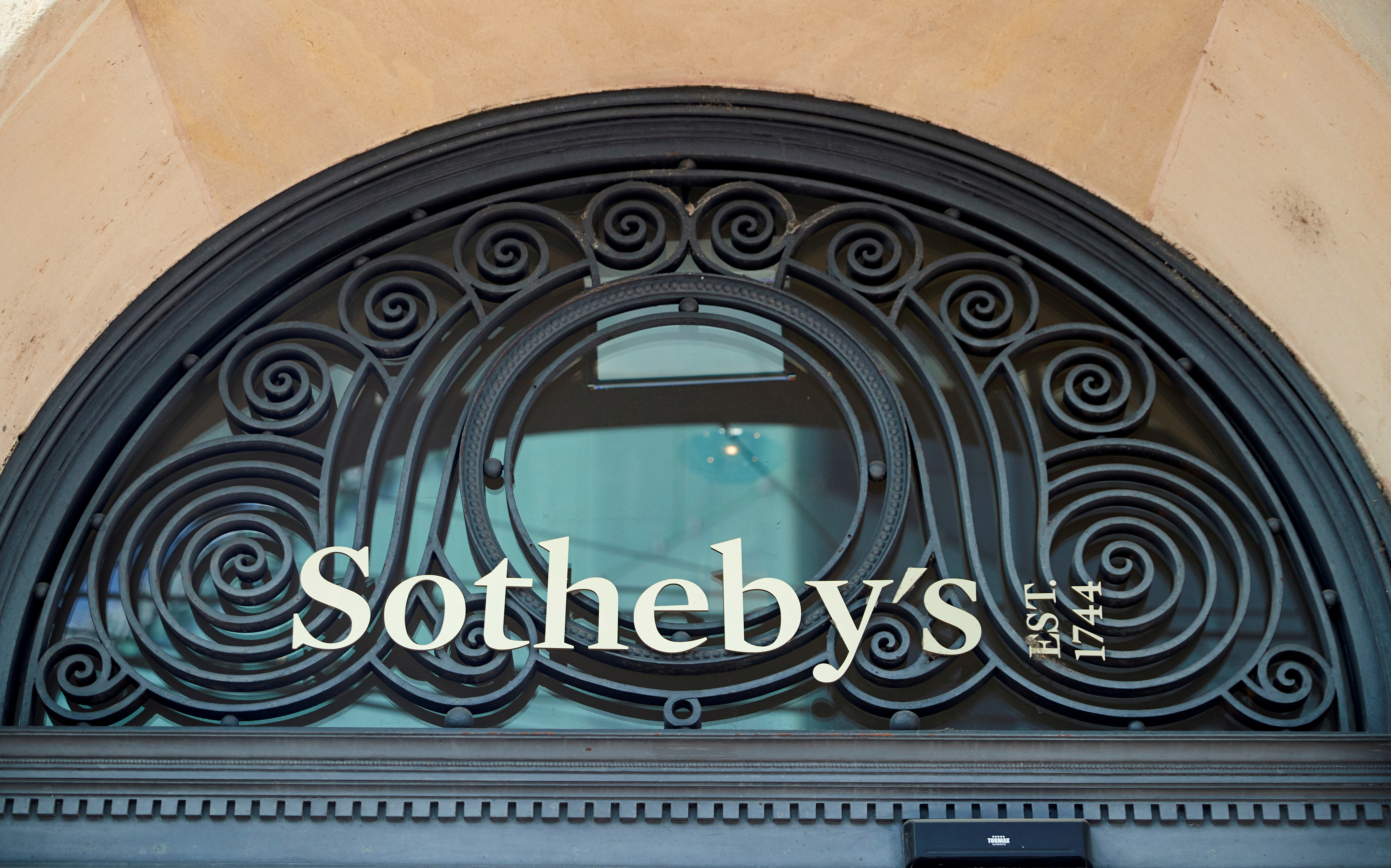 A logo is pictured on Sotheby's in Geneva, Switzerland, June 21, 2020. Picture taken June 21, 2020. REUTERS/Denis Balibouse/File Photo