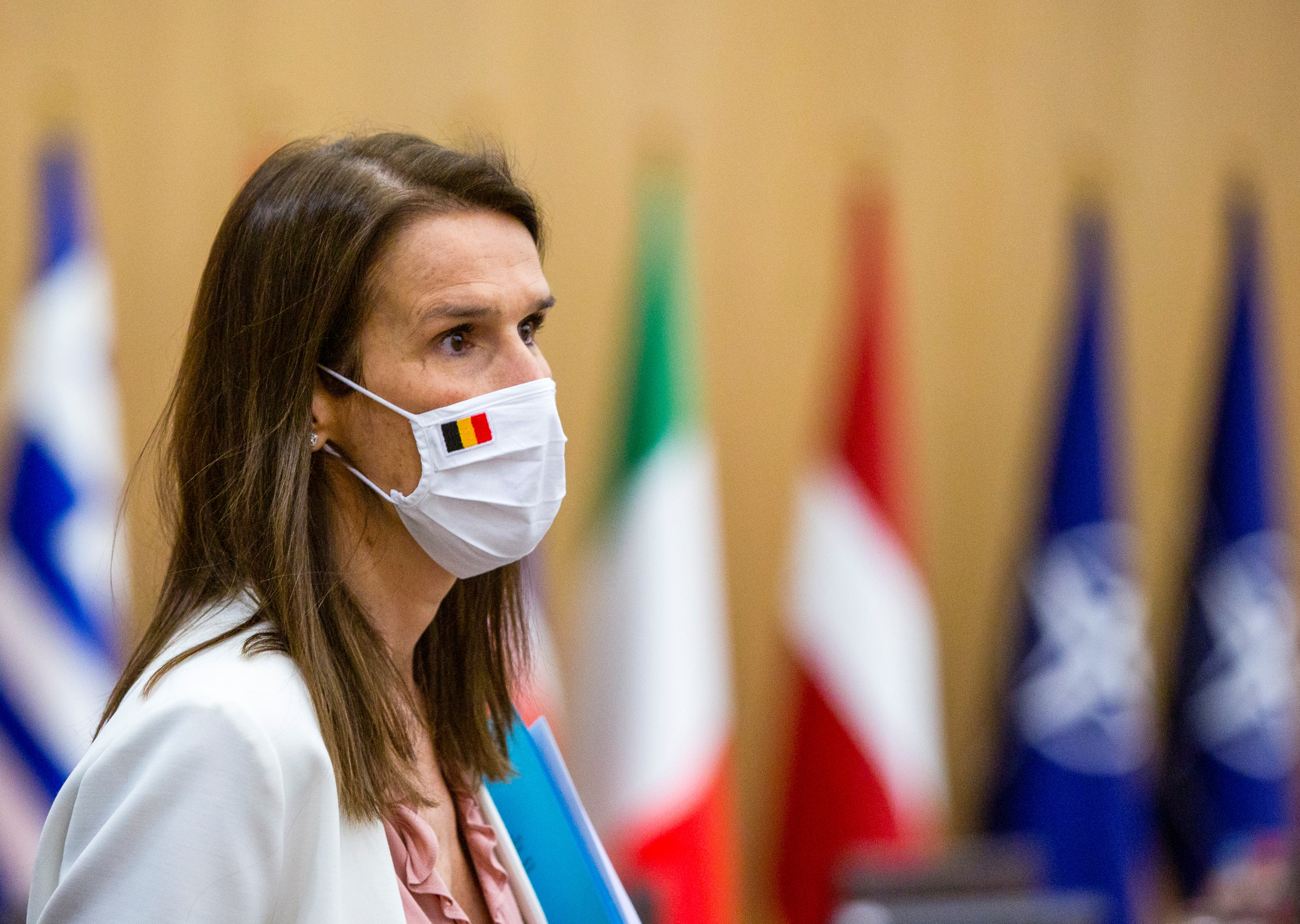 Belgium's Foreign Minister Sophie Wilmes attends a meeting of NATO foreign ministers at the NATO headquarters in Brussels, Belgium, March 23, 2021. Virginia Mayo/Pool via REUTERS