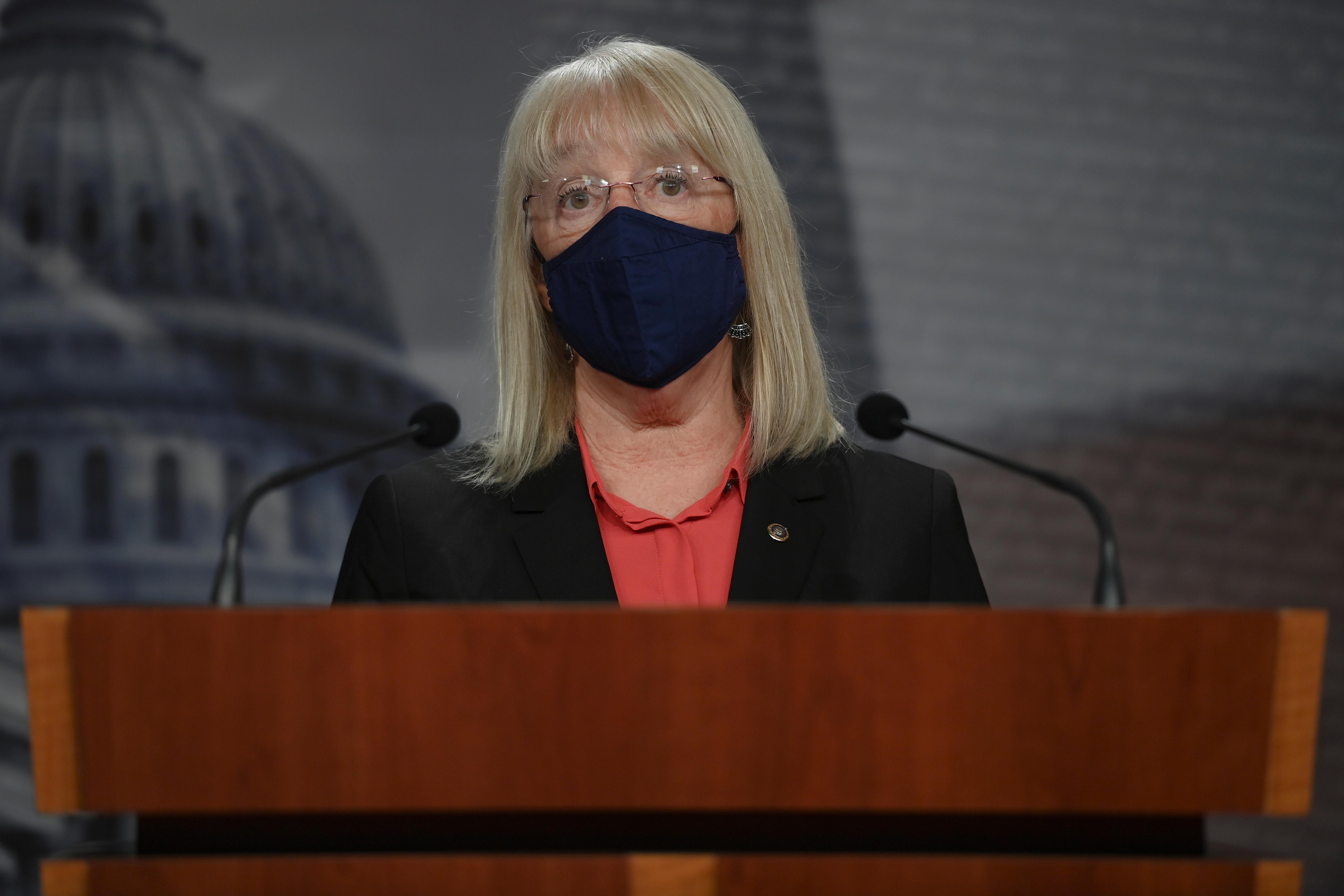 U.S. Senator Patty Murray (D-WA) speaks during a news conference at the U.S. Capitol, in Washington, U.S., February 2, 2021. REUTERS/Brandon Bell