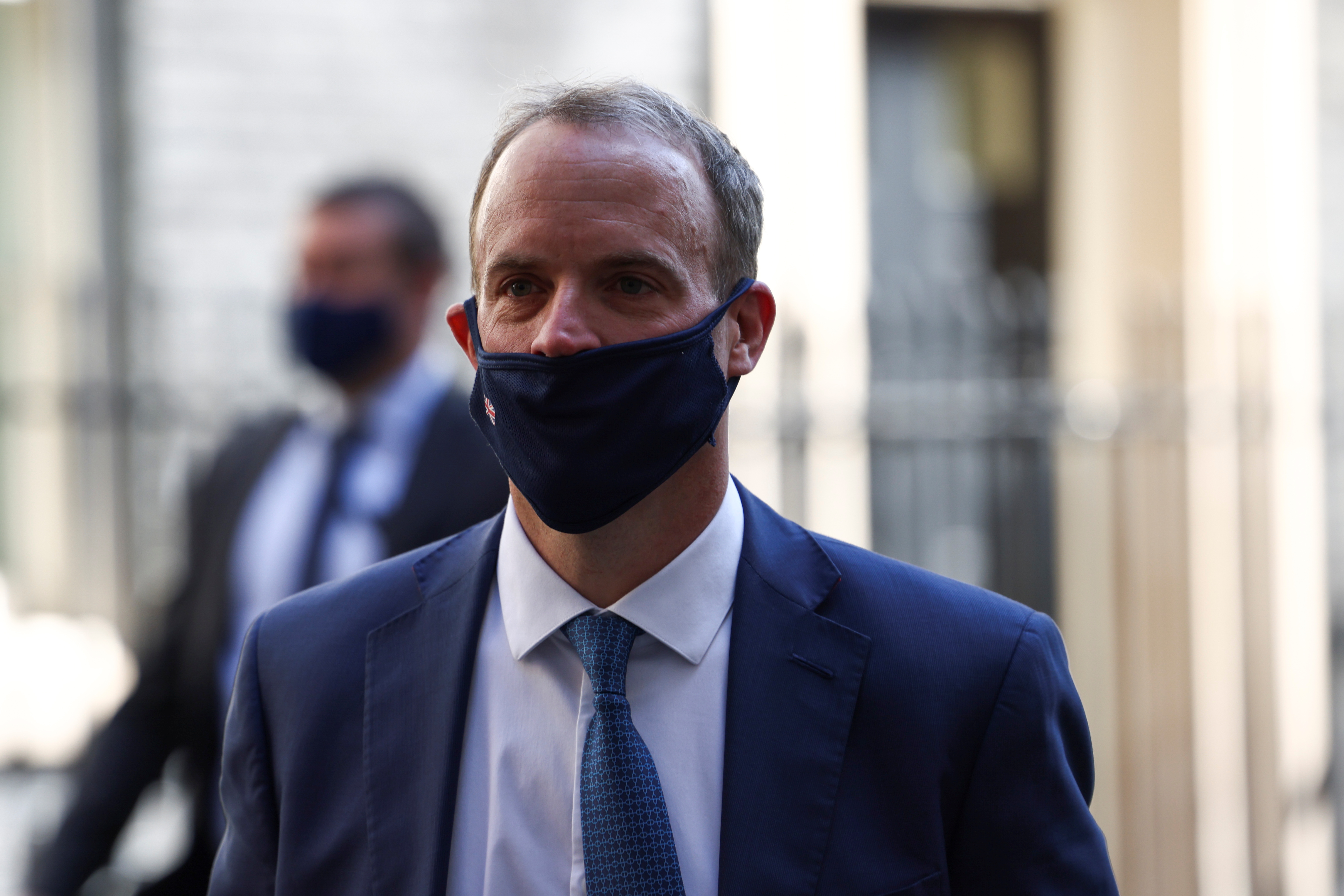 Britain's Foreign Secretary Dominic Raab leaves 10 Downing Street, in London, Britain, April 27, 2021. REUTERS/Henry Nicholls