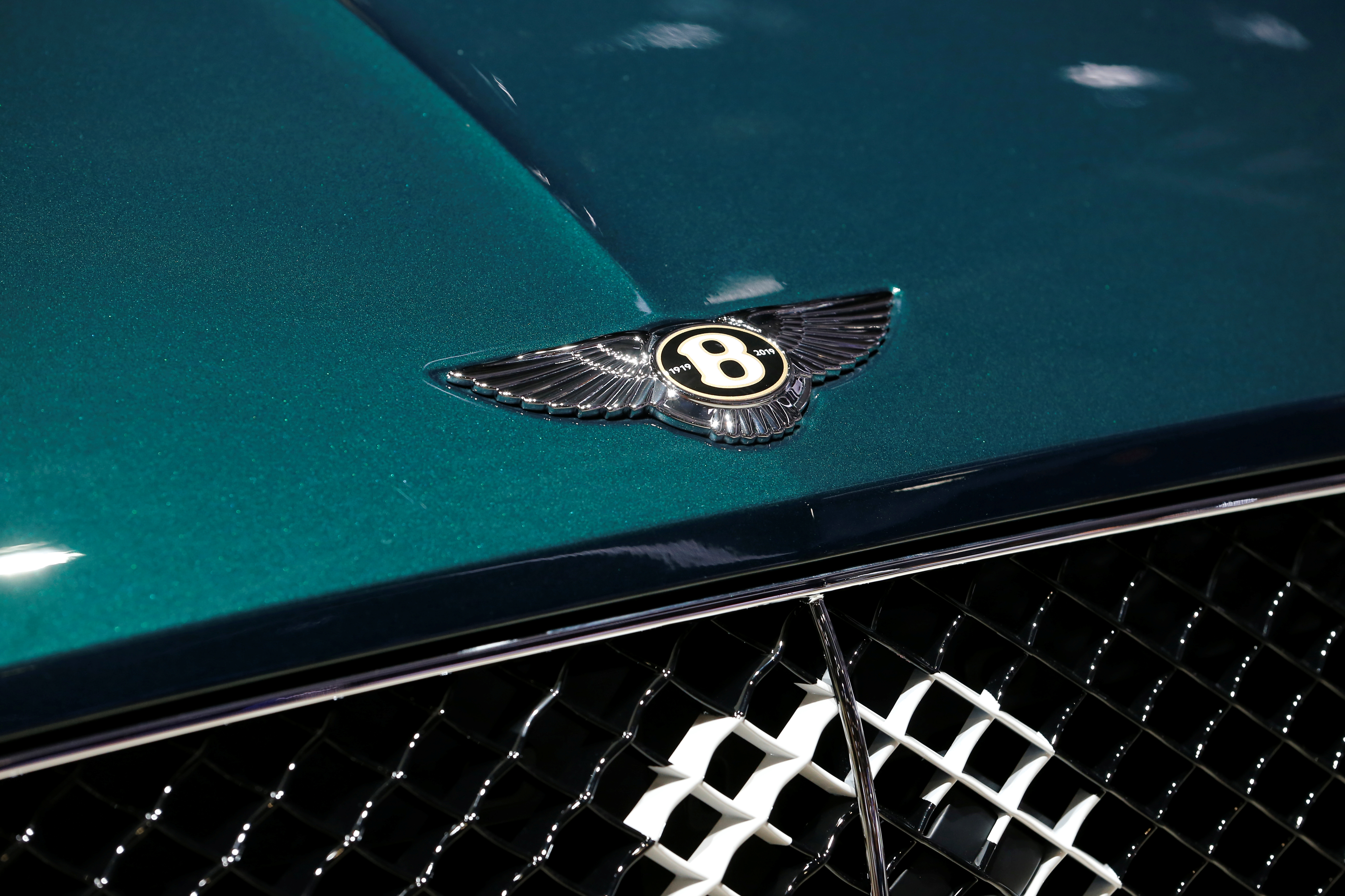The Bentley logo is seen on a new car model at the 89th Geneva International Motor Show in Geneva, Switzerland March 5, 2019. REUTERS/Pierre Albouy