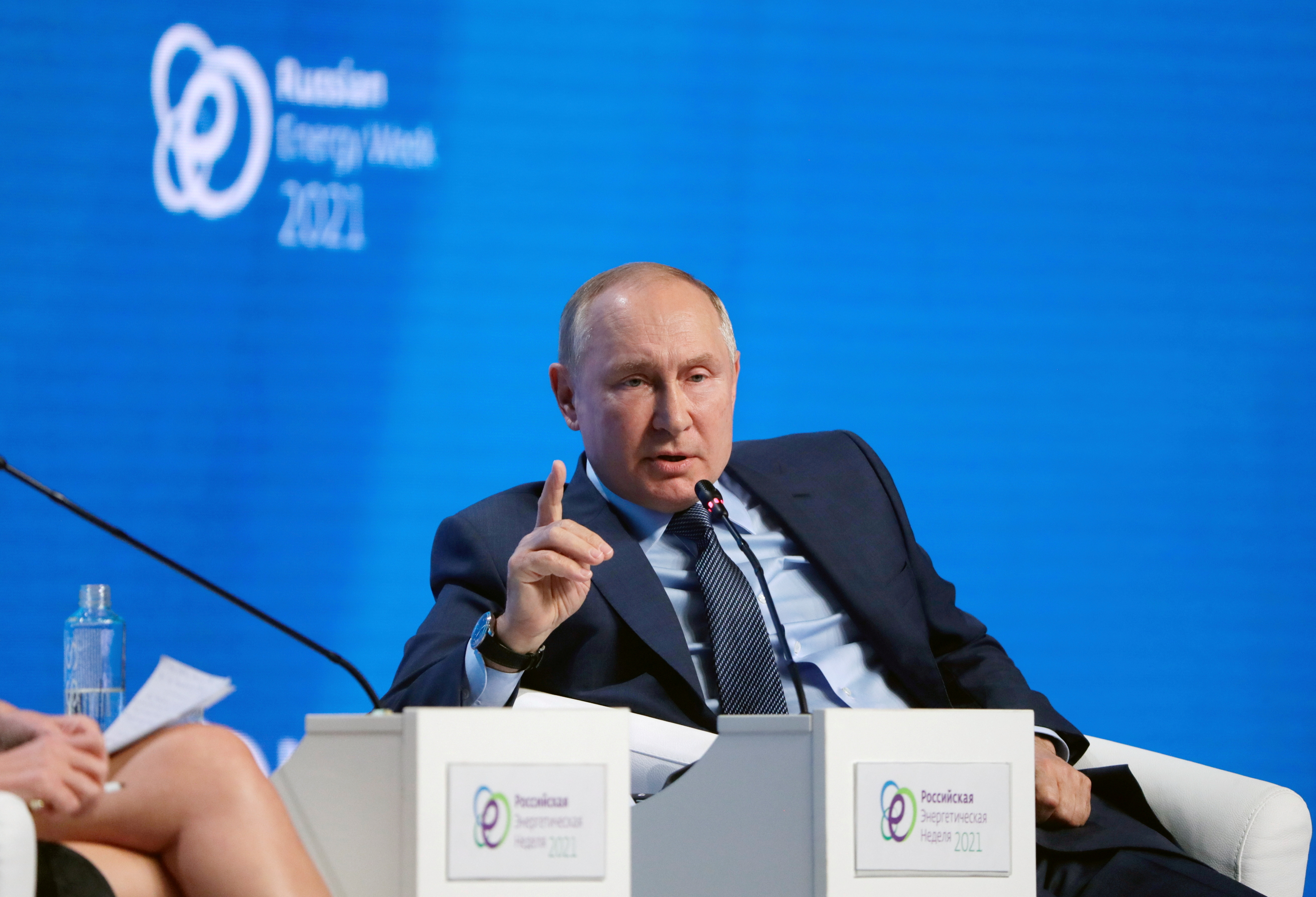 Russian President Vladimir Putin speaks during a plenary session of the Russian Energy Week International Forum in Moscow, Russia October 13, 2021. Sputnik/Mikhail Metzel/Pool via REUTERS ATTENTION EDITORS - THIS IMAGE WAS PROVIDED BY A THIRD PARTY.