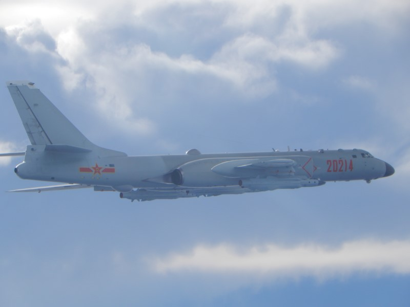 A People's Liberation Army (PLA) H-6 bomber flies on a mission near the median line in the Taiwan Strait, which serves as an unofficial buffer between China and Taiwan, September 18, 2020.   Taiwan Ministry of National Defense/via REUTERS