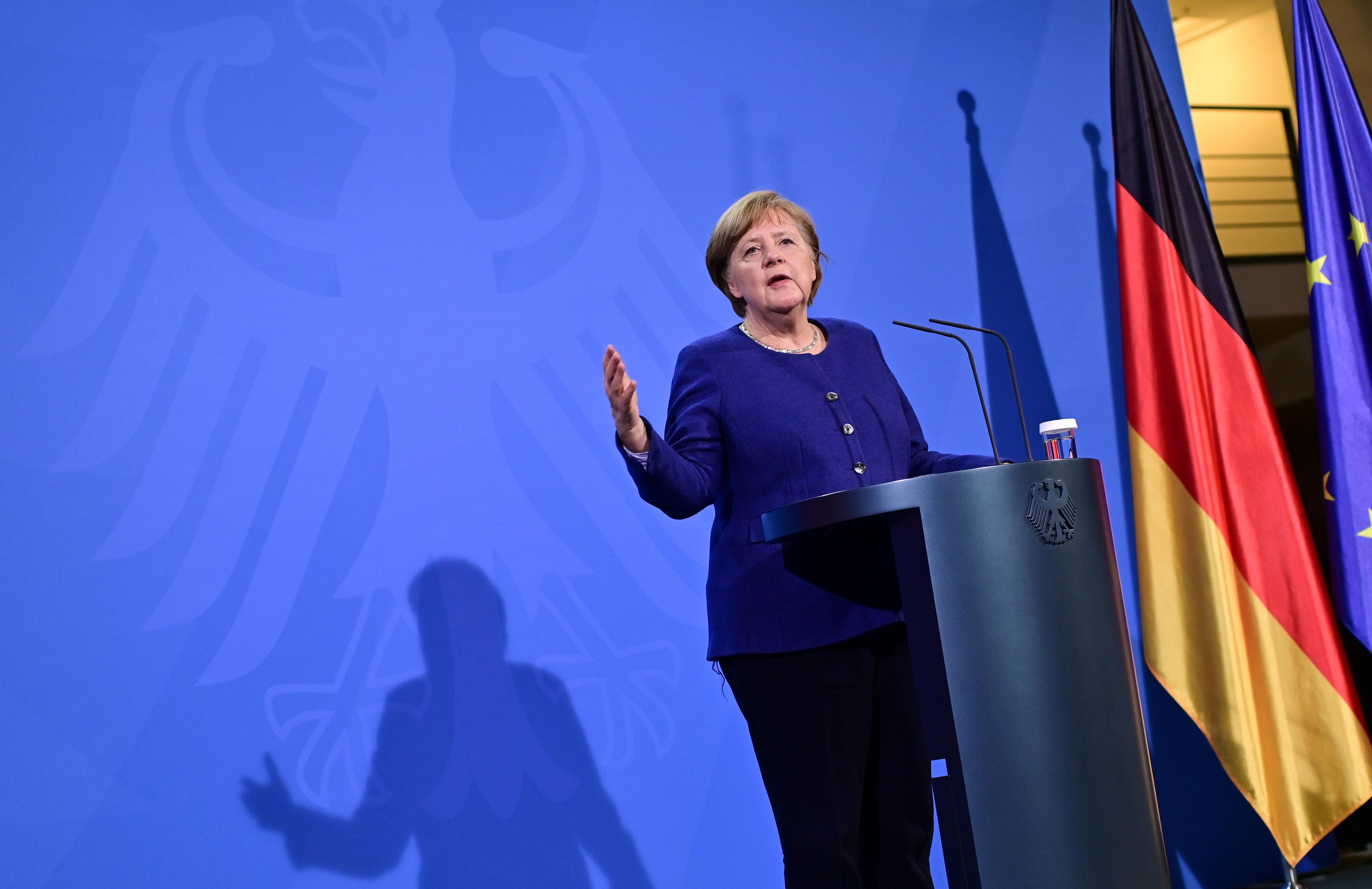 German Chancellor Angela Merkel addresses a press conference following the EU leaders' videoconference in Berlin, Germany February 25, 2021. John MacDougall/Pool via REUTERS