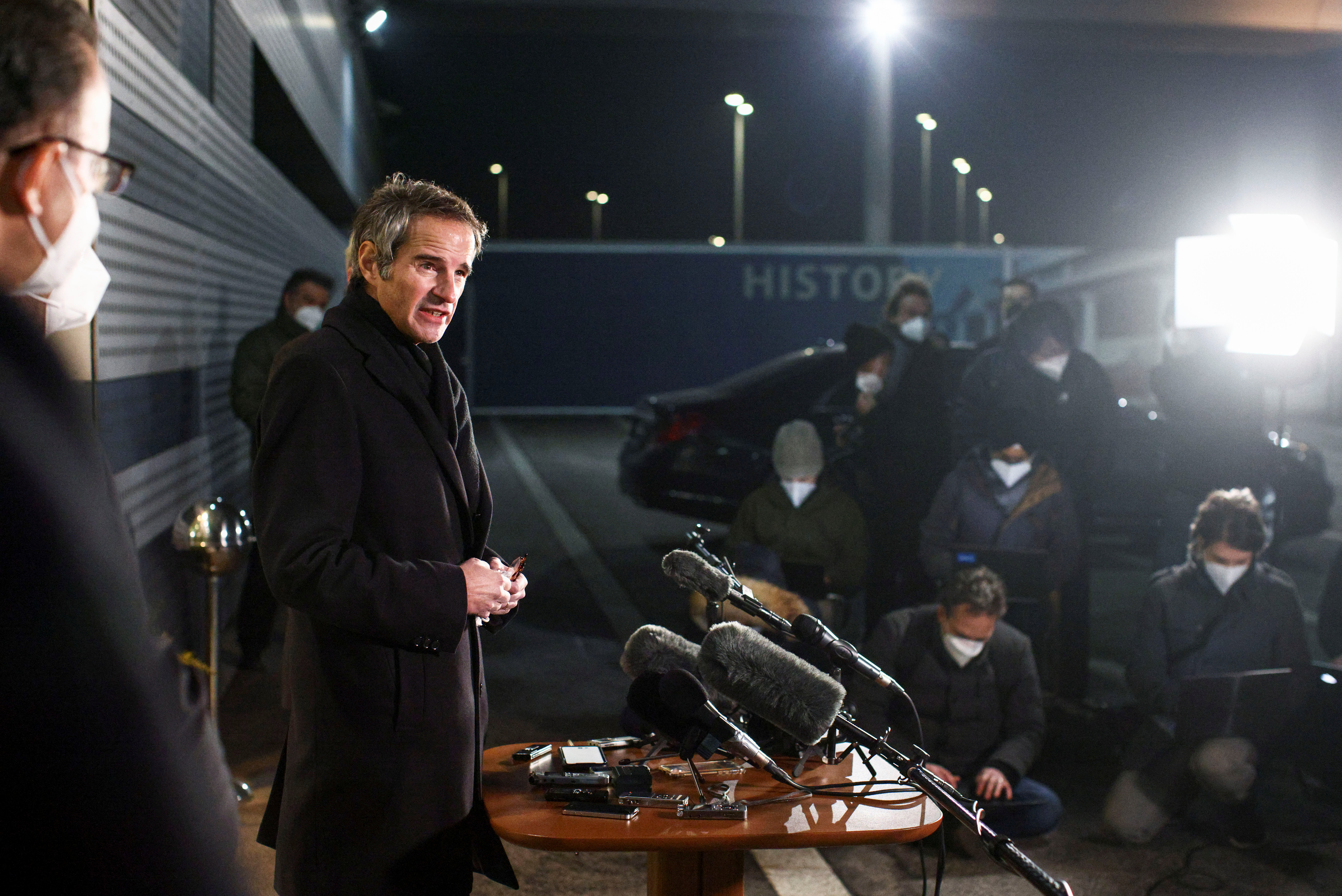 International Atomic Energy Agency (IAEA) Director General Rafael Grossi addresses the media upon his arrival from Tehran, at Vienna International Airport in Schwechat, Austria February 21, 2021. REUTERS/Lisi Niesner