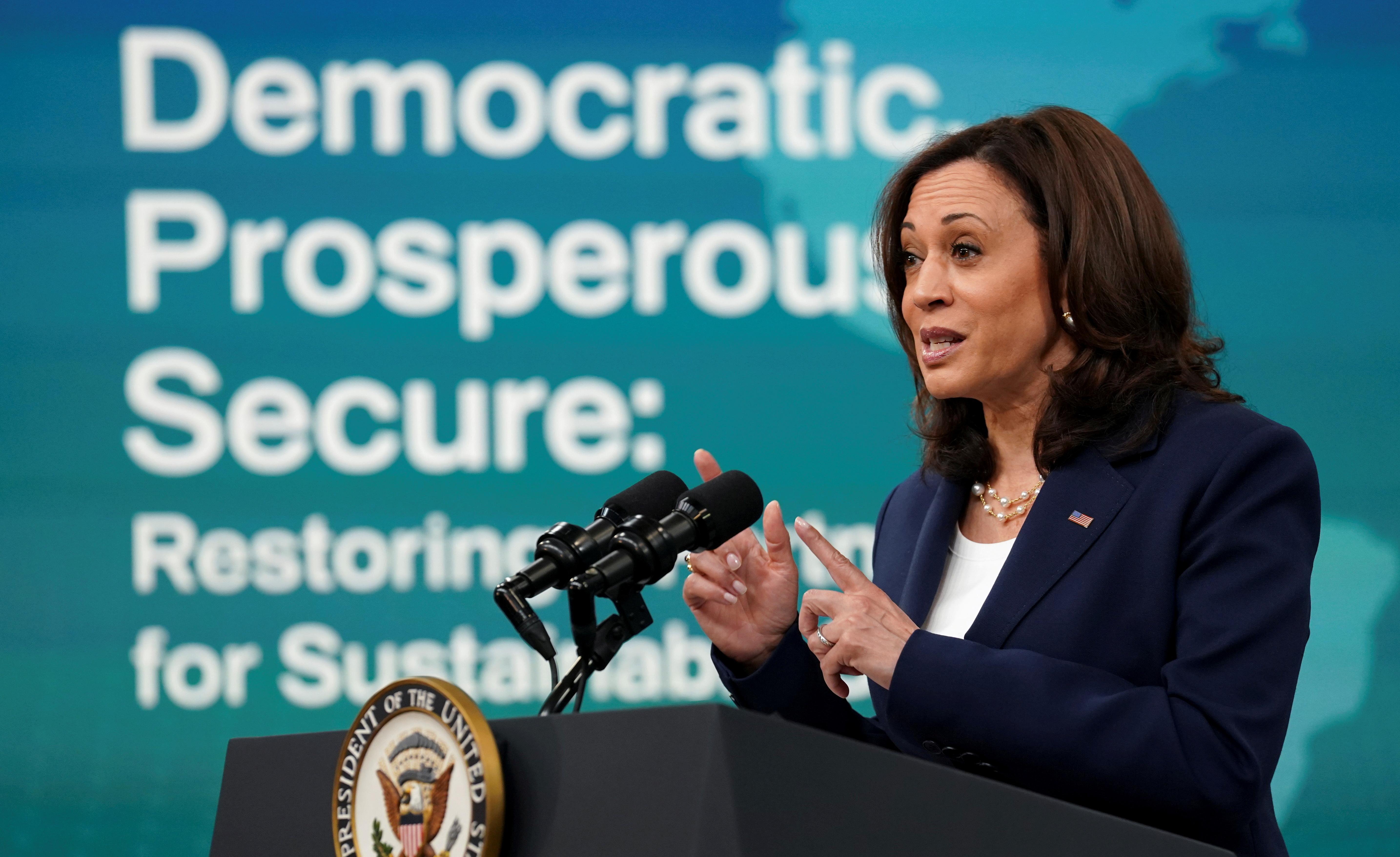 U.S. Vice President Kamala Harris speaks at the virtual Washington Conference on the Americas in Washington, U.S., May 4, 2021. REUTERS/Kevin Lamarque/File Photo