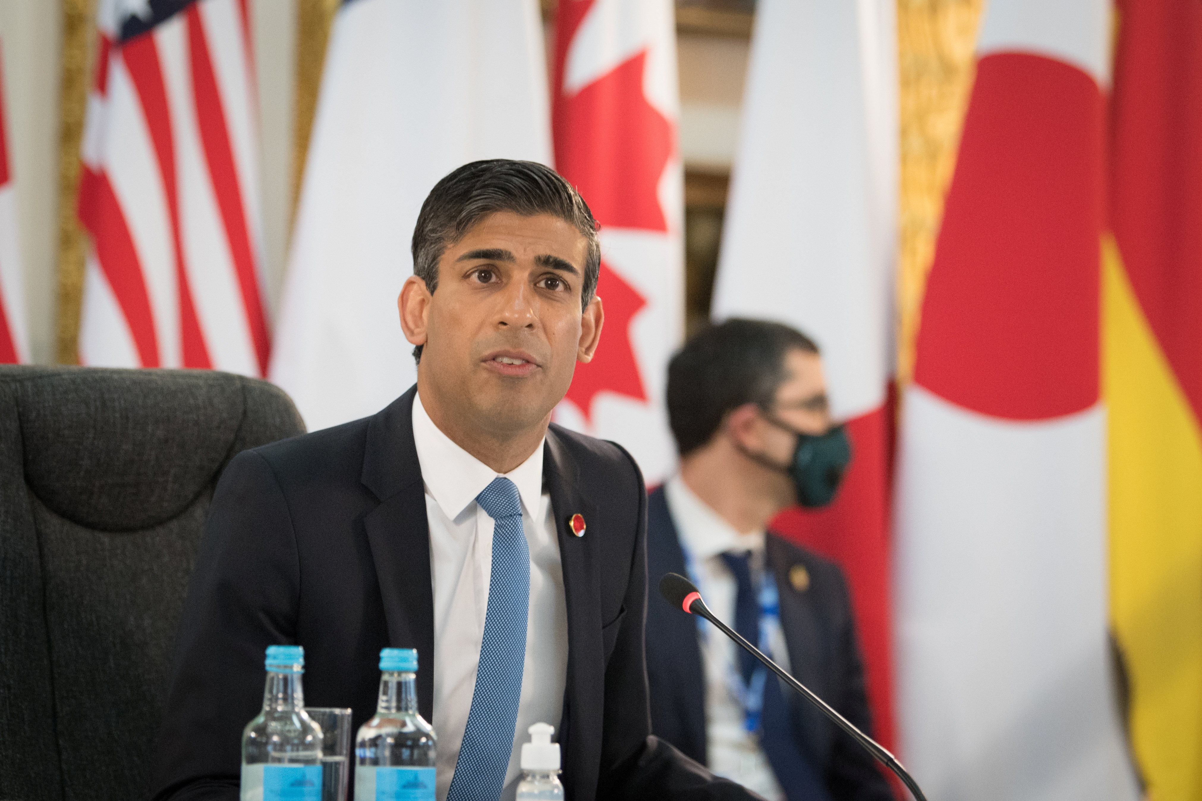 Britain's Chancellor of the Exchequer Rishi Sunak attends a meeting of finance ministers from across the G7 nations ahead of the G7 leaders' summit, at Lancaster House in London, Britain June 4, 2021. Stefan Rousseau/PA Wire/Pool via REUTERS/File photo