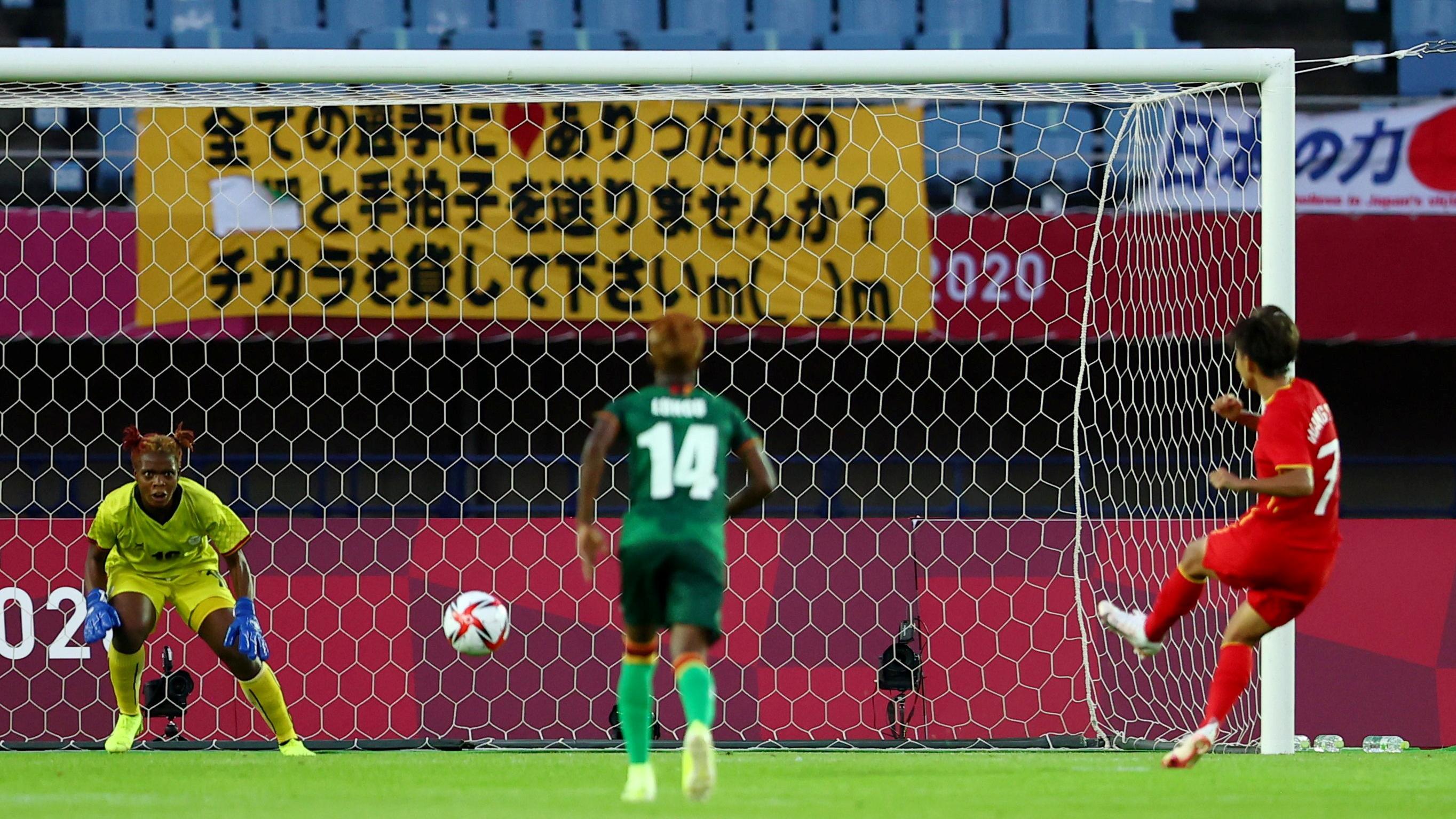 Tokyo 2020 Olympics - Soccer Football - Women - Group F - China v Zambia - Miyagi Stadium, Miyagi, Japan - July 24, 2021. Wang Shuang of China scores their fourth goal from the penalty spot REUTERS/Amr Abdallah Dalsh