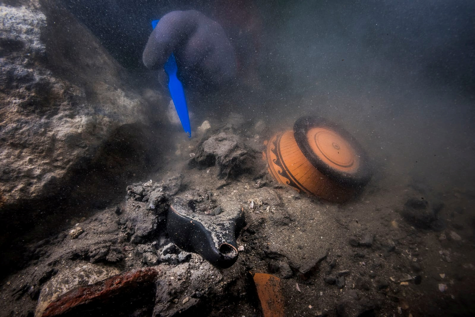 Remains of an ancient military vessel discovered in the Mediterranean sunken city of Thonis-Heracleion off the coast of Alexandria, Egypt, are seen?in this handout image released on July 19, 2021. The Egyptian Ministry of Antiquities/Handout via REUTERS