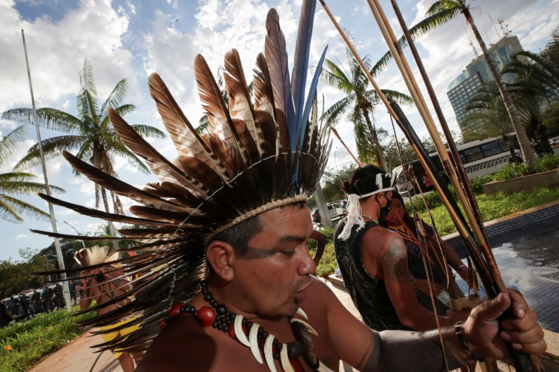 Indigenous Brazilians from different ethnic groups take part in a protest to defend the demarcation of indigenous lands, in Brasilia, Brazil June 16, 2021. REUTERS/ Henry Romero