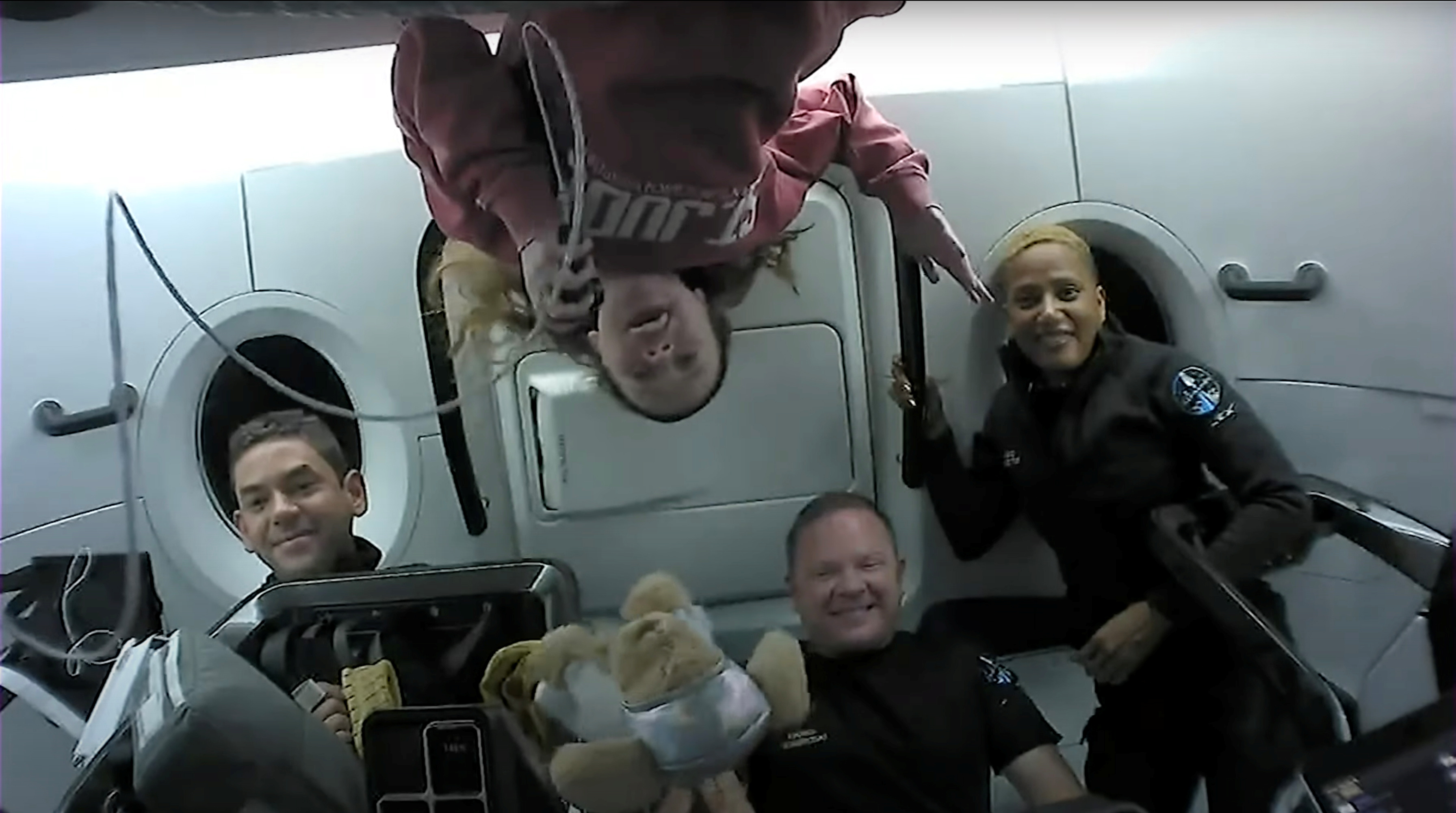 Inspiration4 crew  Jared Isaacman, Sian Proctor, Hayley Arceneaux, and Chris Sembroski chatting with St. Jude patients from space in this handout photo released on September 17, 2021. SpaceX/Handout via REUTERS