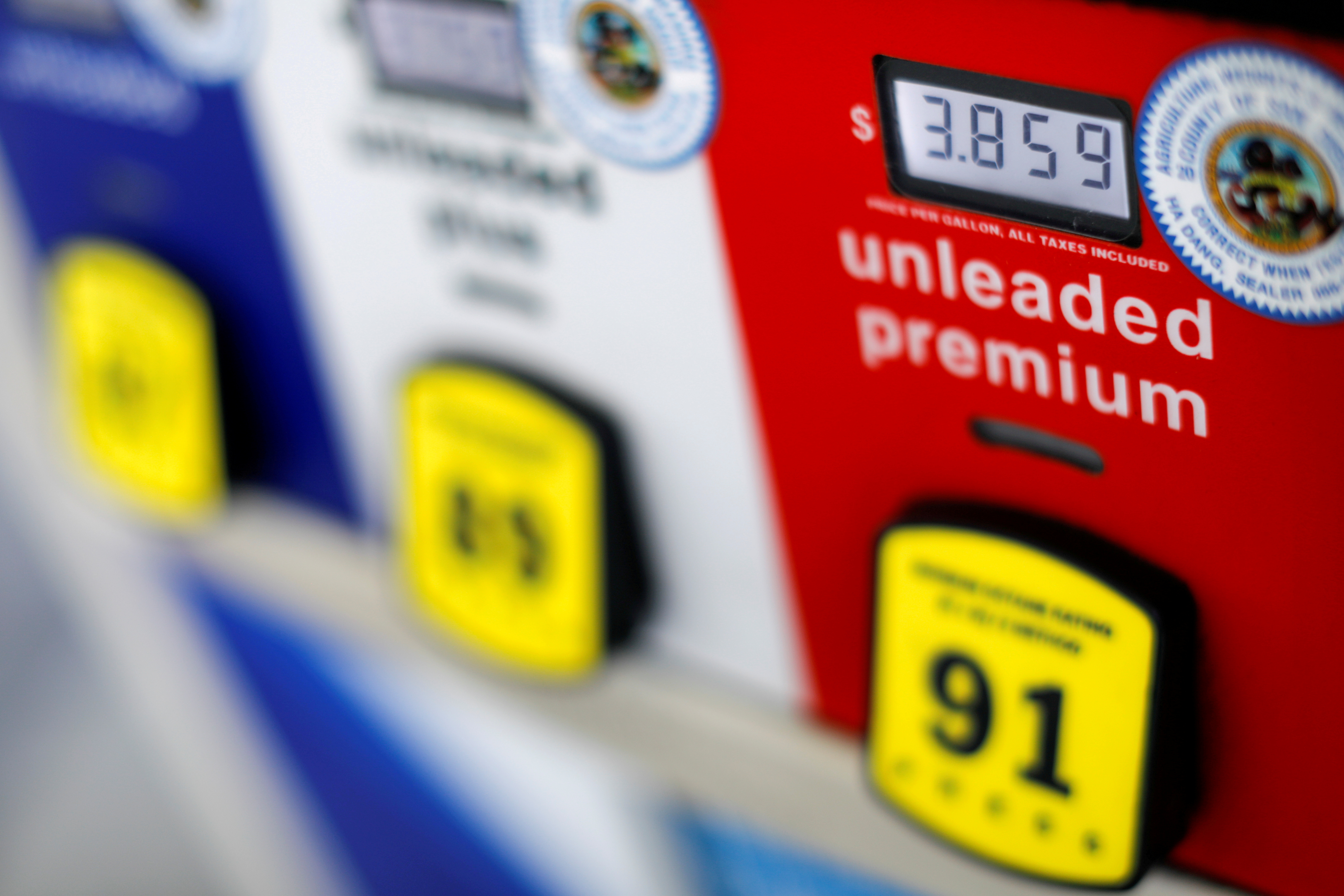 A gas pump at an Arco gas station in San Diego, California, U.S. July 11, 2018.  REUTERS/Mike Blake/File Photo