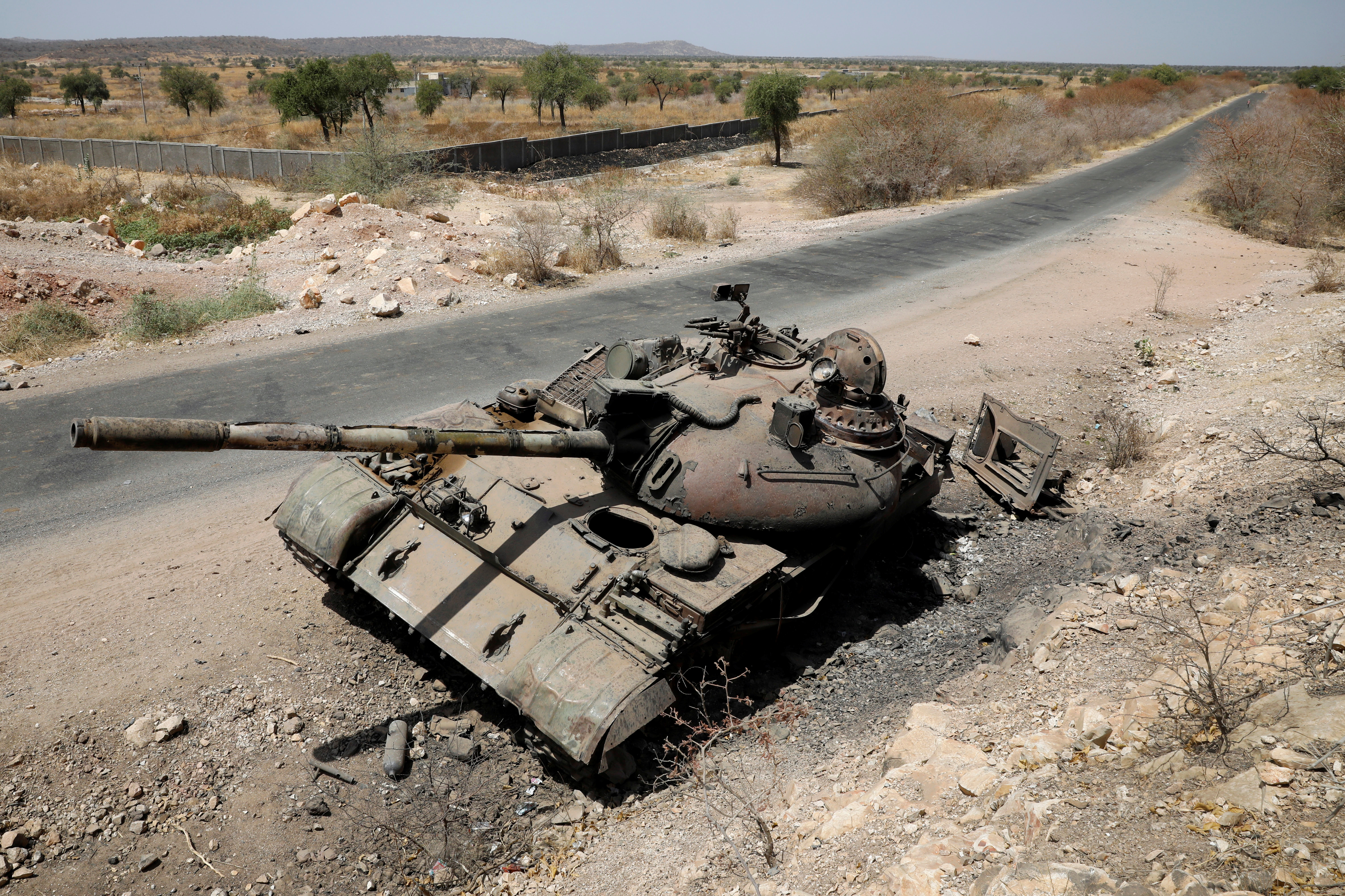 A tank damaged in fighting between Ethiopian government and Tigray forces is pictured near the town of Humera, Ethiopia, March 3, 2021. REUTERS/Baz Ratner