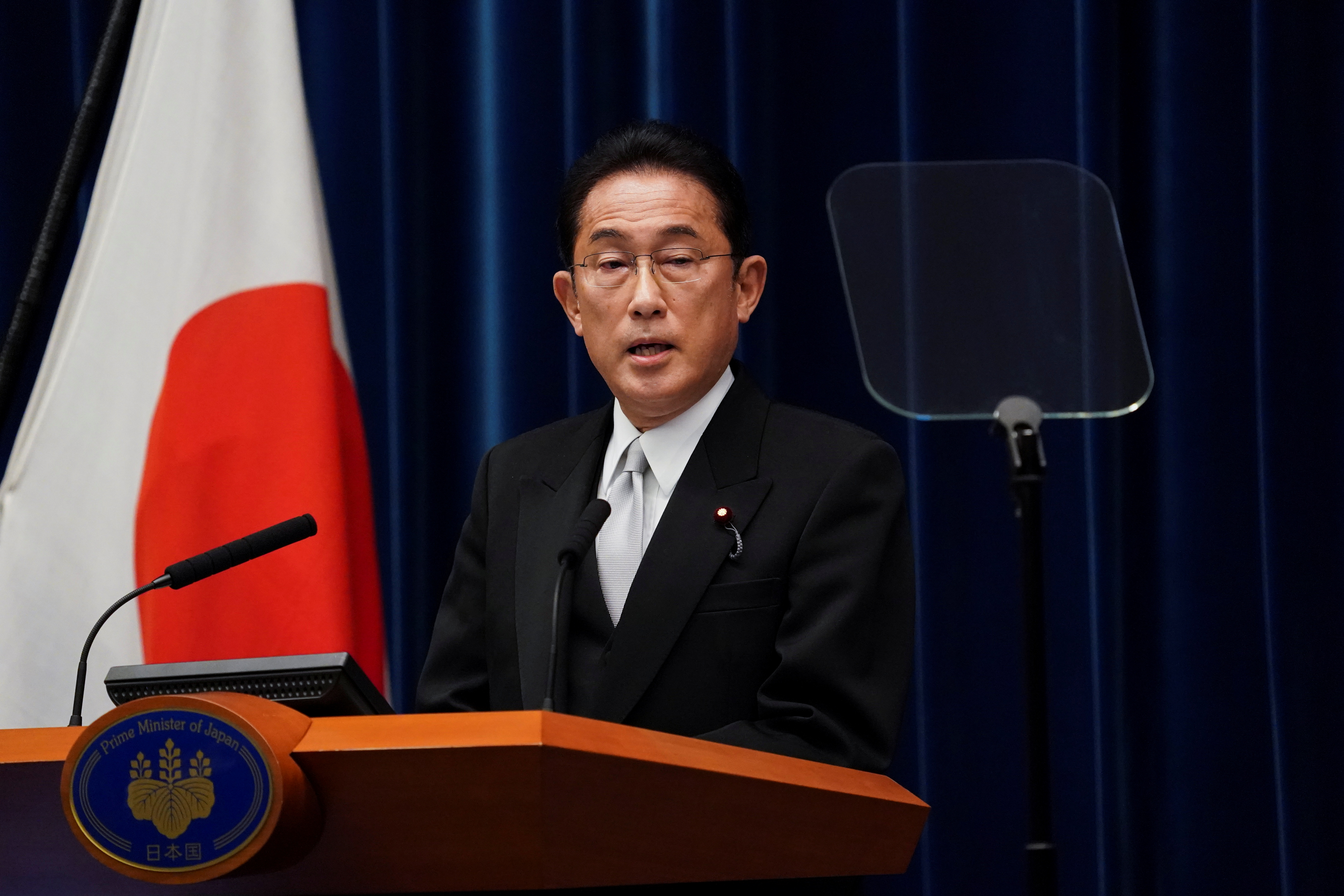 Fumio Kishida, Japan's prime minister, speaks during a news conference at the prime minister's official residence in Tokyo, Japan, October 4, 2021. Toru Hanai/Pool via REUTERS