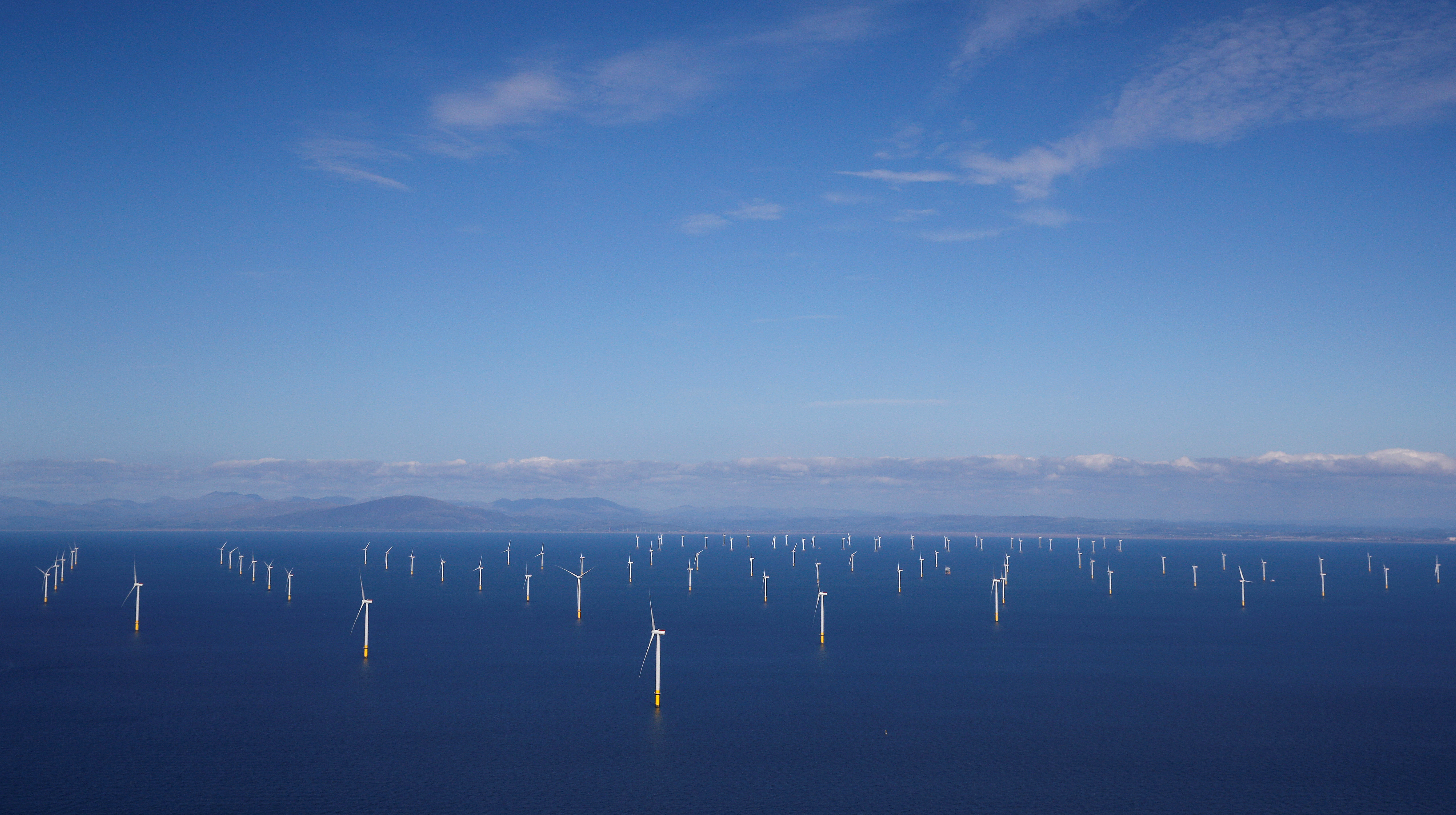 General view of the Walney Extension offshore wind farm operated by Orsted off the coast of Blackpool, Britain September 5, 2018. REUTERS/Phil Noble/File Photo