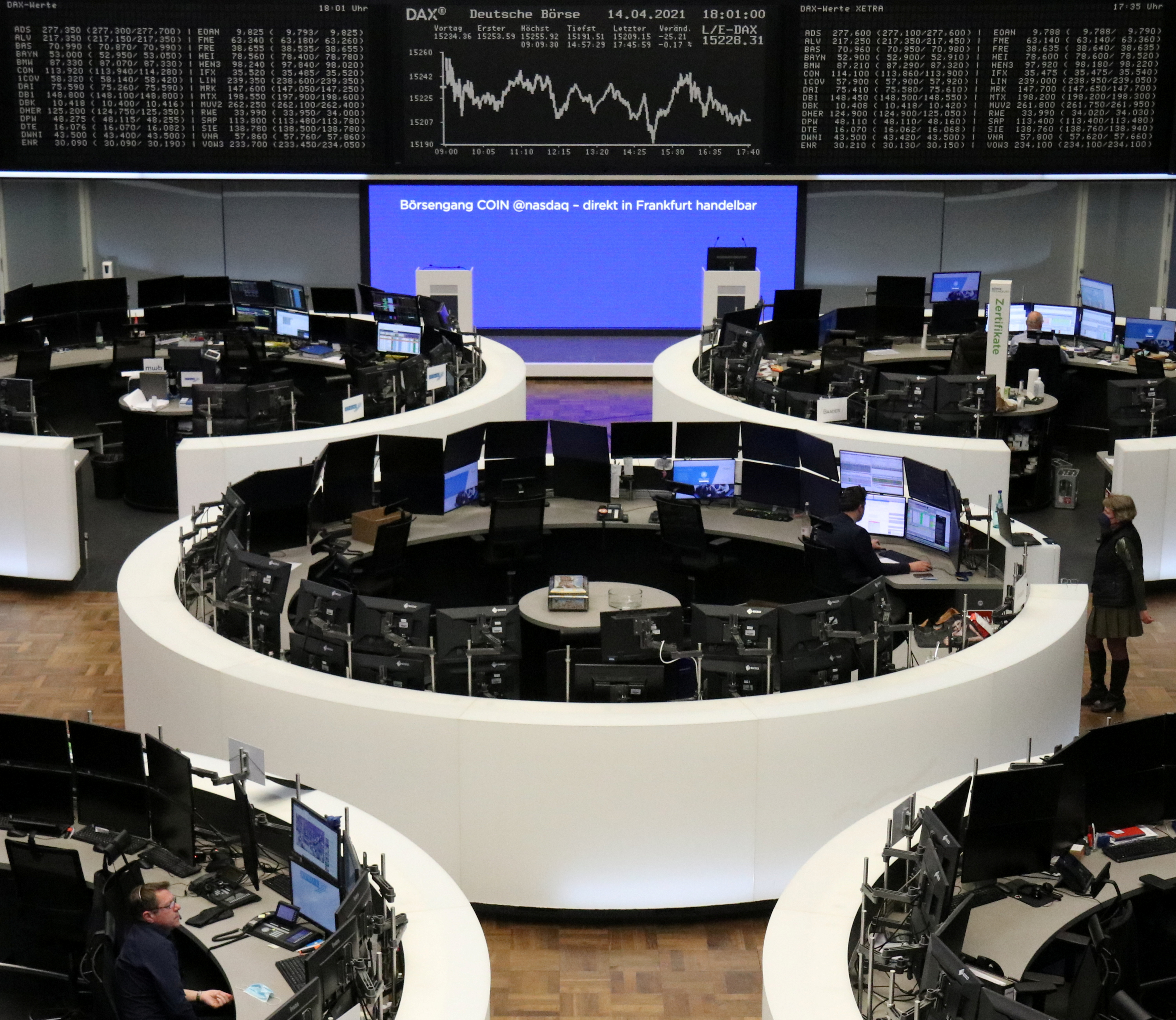 The German share price index DAX graph is pictured at the stock exchange in Frankfurt, Germany, April 14, 2021.    REUTERS/Staff/File Photo