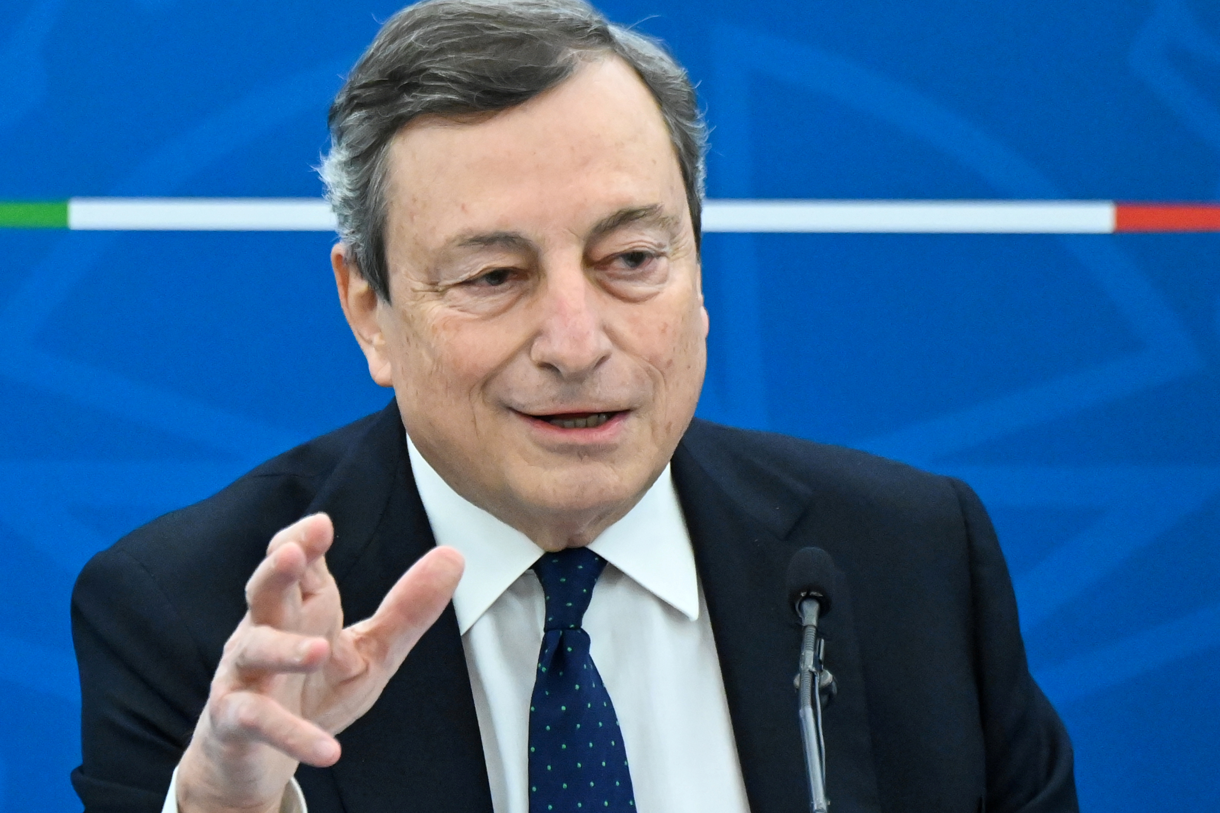 Italy's Prime Minister Mario Draghi speaks during a news conference after a cabinet meeting in Rome, Italy, March 19, 2021. Alberto Pizzoli/Pool via REUTERS/File Photo