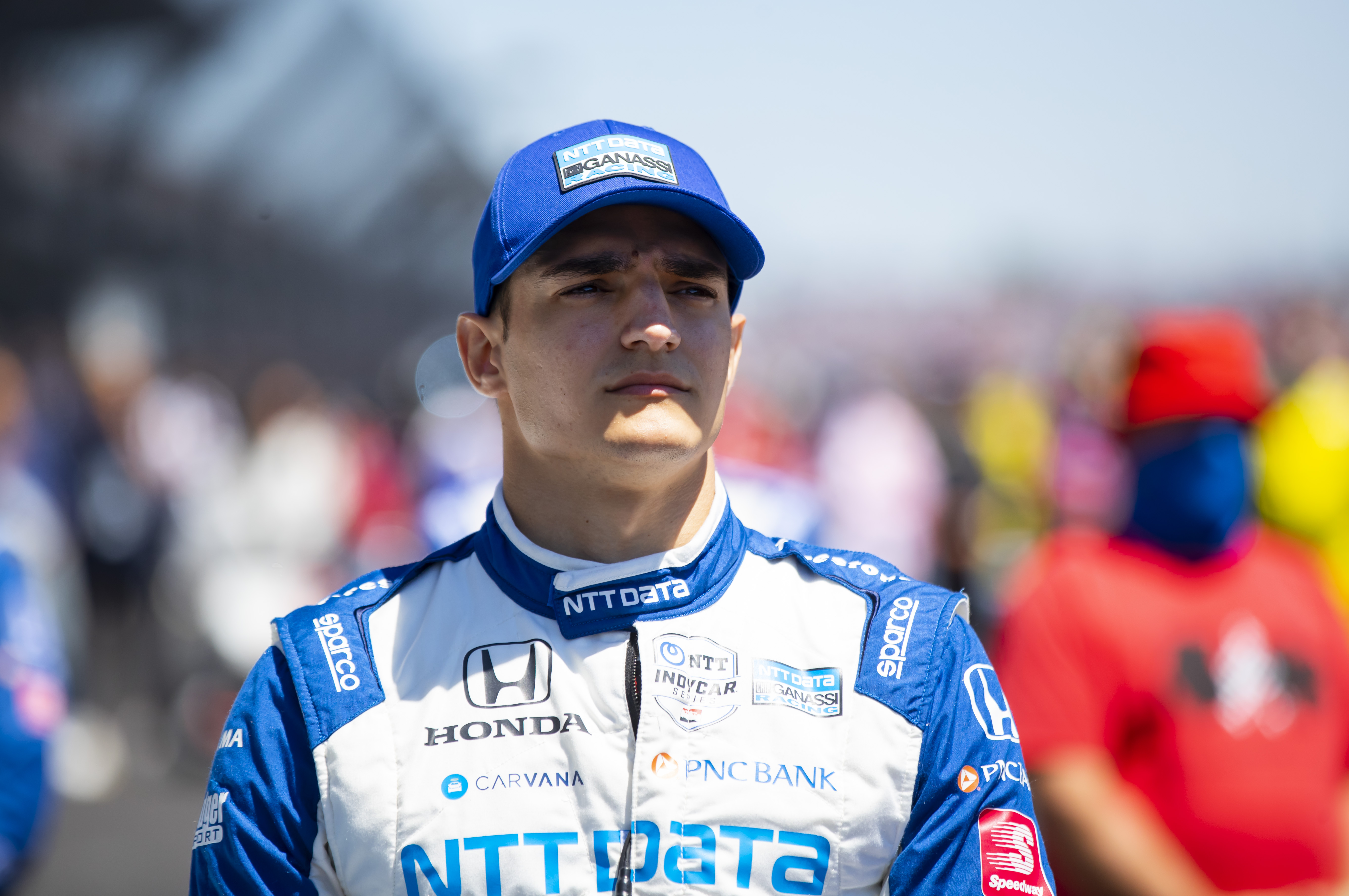 May 30, 2021; Indianapolis, Indiana, USA; IndyCar Series driver Alex Palou prior to the 105th Running of the Indianapolis 500 at Indianapolis Motor Speedway. Mandatory Credit: Mark J. Rebilas-USA TODAY Sports