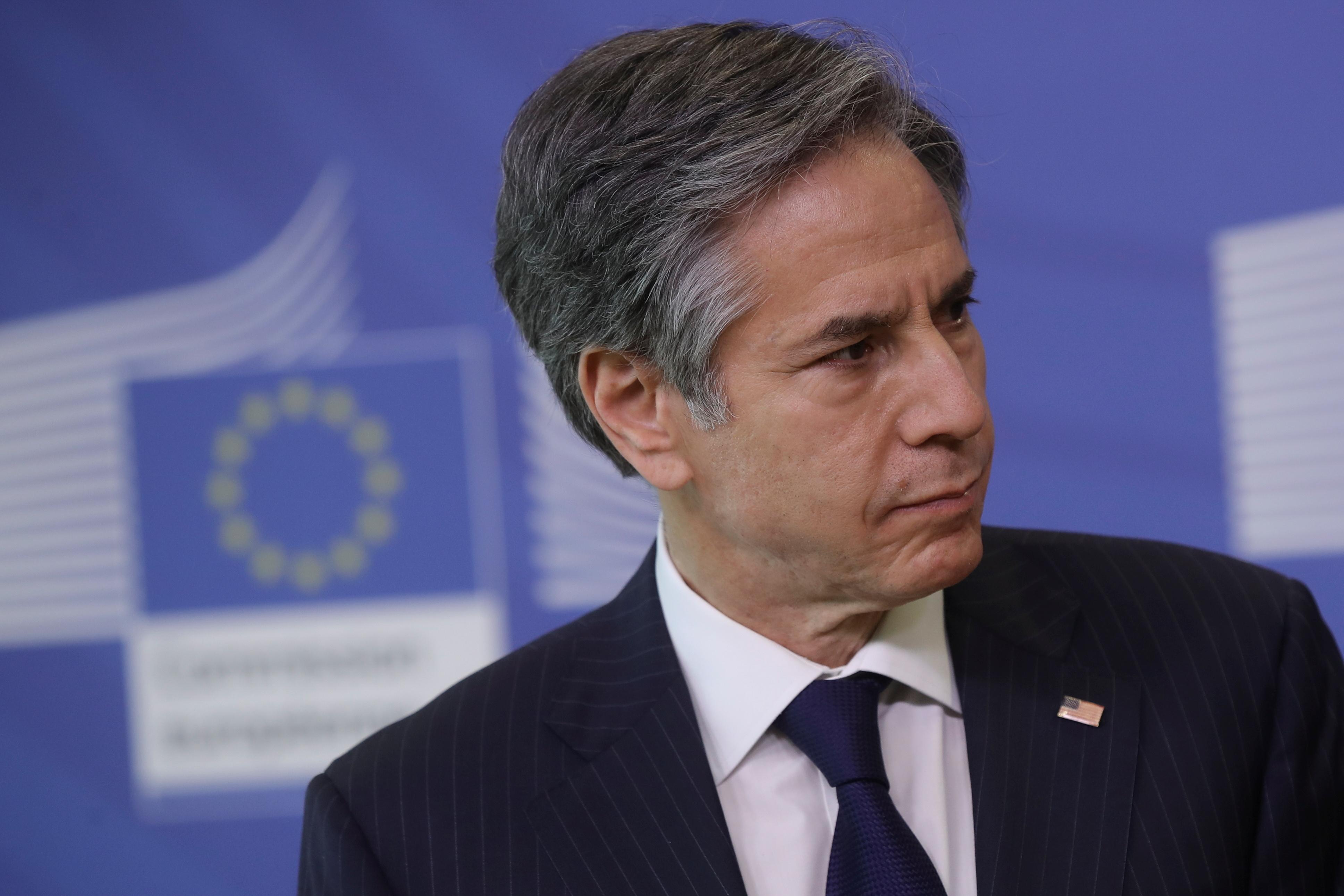 U.S. Secretary of State Antony Blinken attends a meeting in Brussels, Belgium, March 24, 2021. Olivier Hoslet/Pool via Reuters