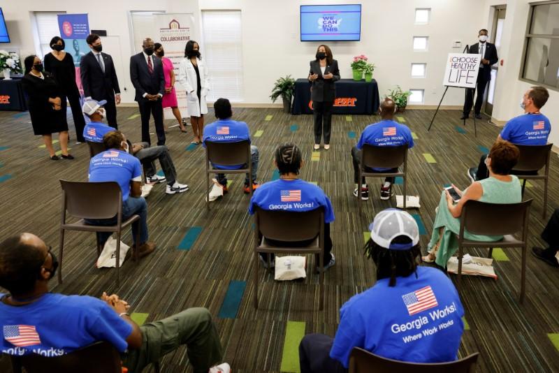 U.S. Vice President Kamala Harris speaks during a visit to a pop-up COVID-19 vaccination site at Ebenezer Baptist Church in Atlanta, Georgia, U.S. June 18, 2021. REUTERS/Jonathan Ernst