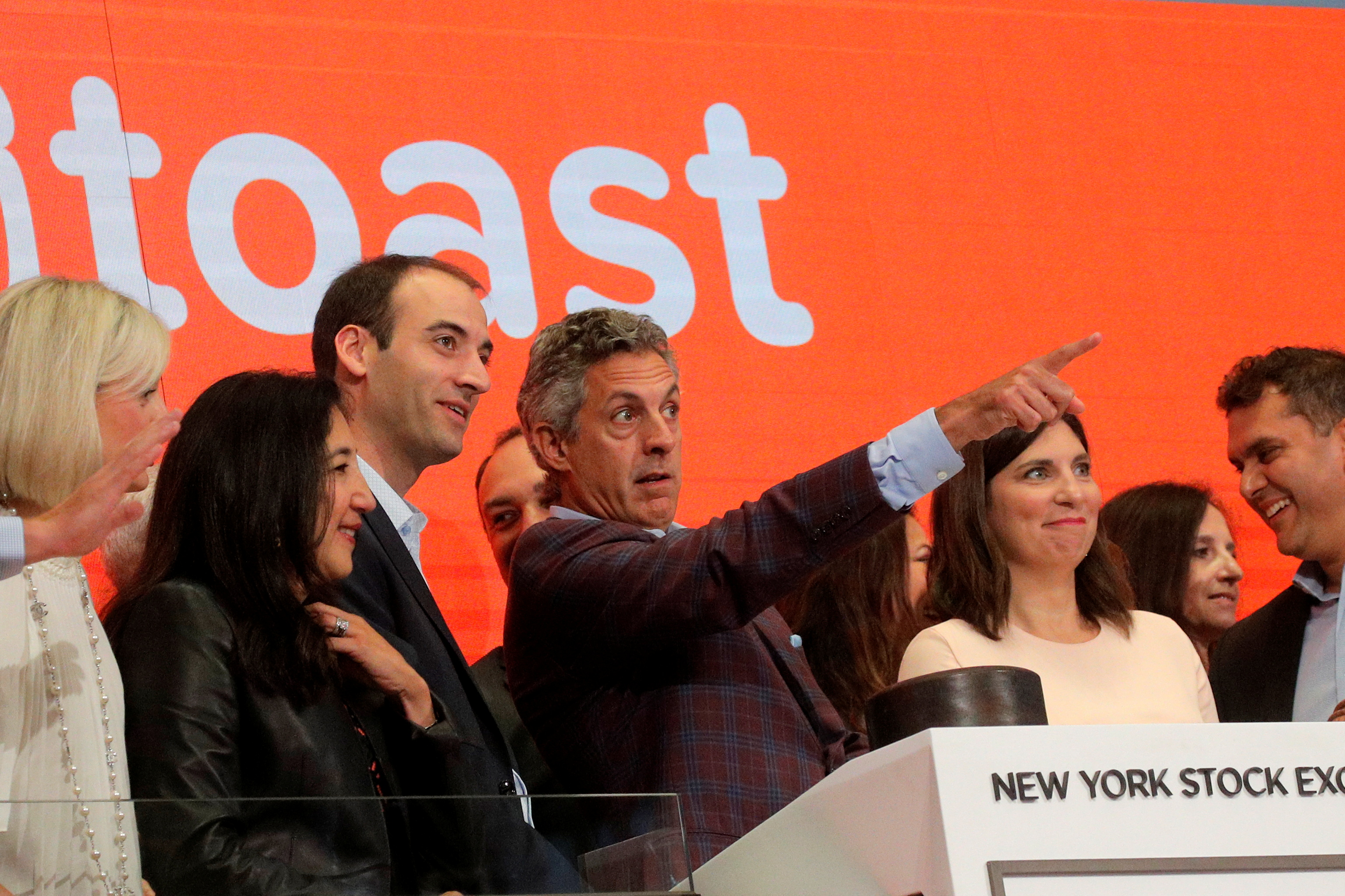 Chris Comparato, CEO of Toast Inc, and Toast Inc. co-Founder Steve Fredette attend their company's IPO at the New York Stock Exchange (NYSE) in New York City, U.S., September 22, 2021.  REUTERS/Brendan McDermid