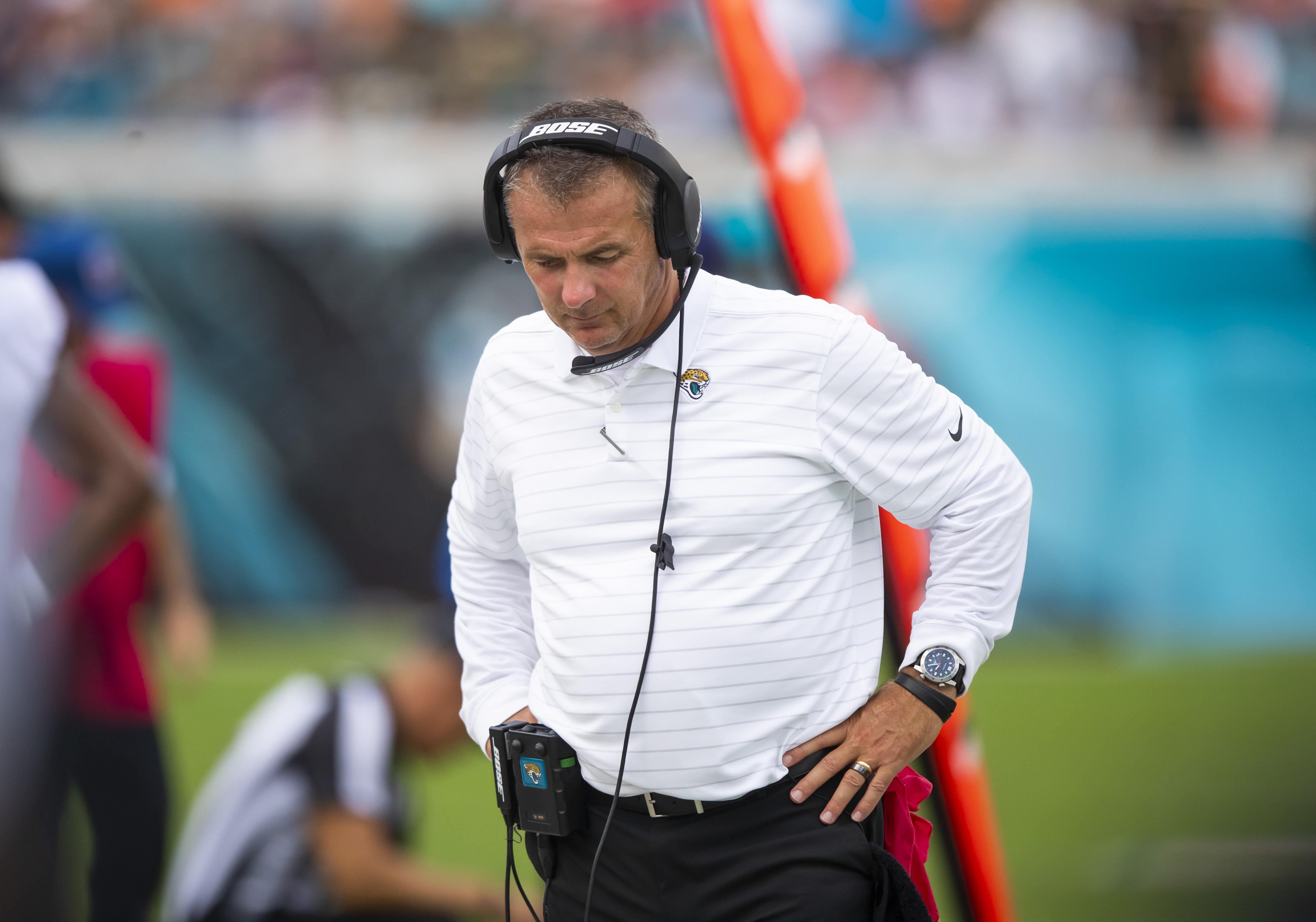 FILE PHOTO-Sep 19, 2021; Jacksonville, Florida, USA; Jacksonville Jaguars head coach Urban Meyer reacts against the Denver Broncos at TIAA Bank Field. Mandatory Credit: Mark J. Rebilas-USA TODAY Sports