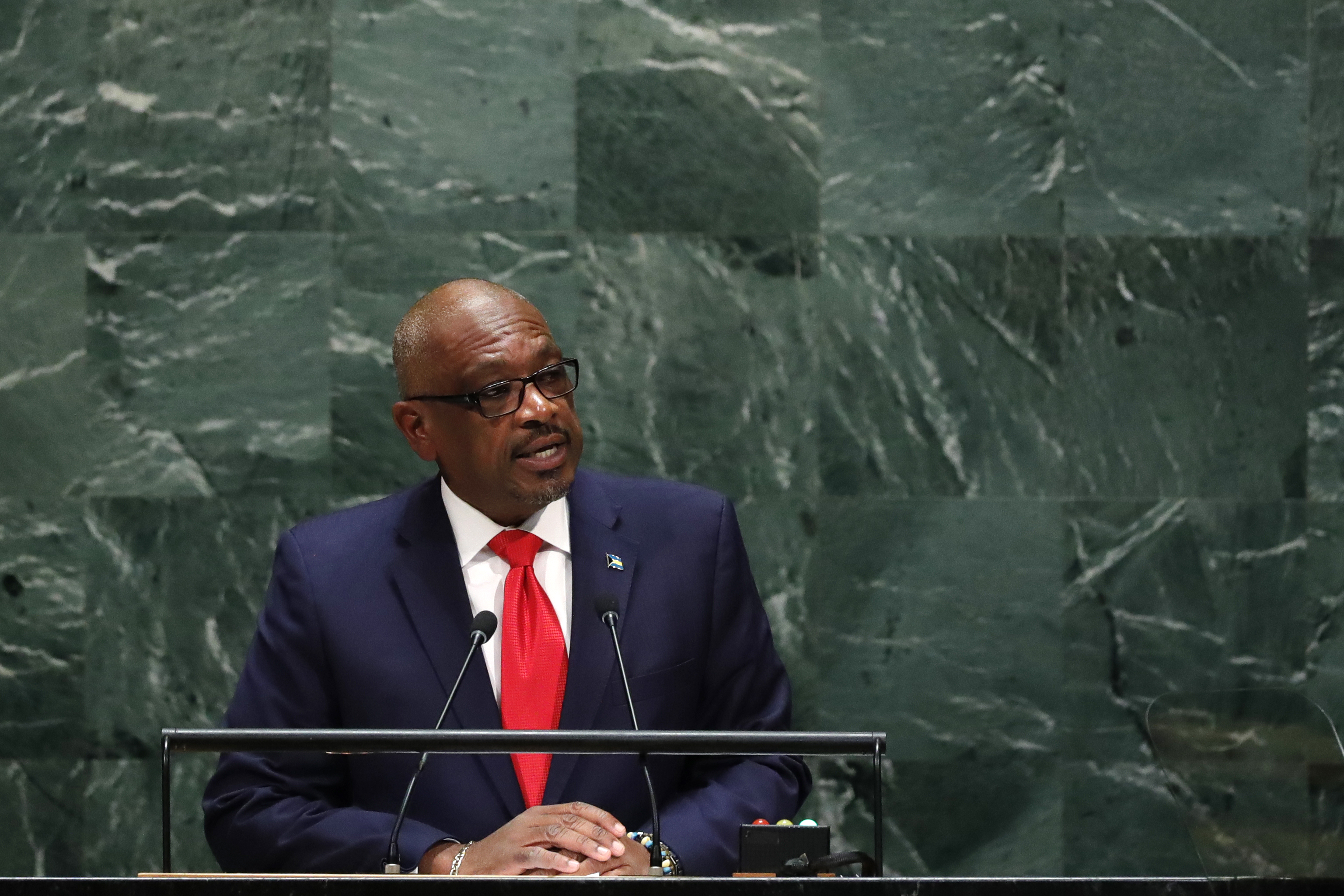Prime Minister of Bahamas Hubert Minnis addresses the 74th session of the United Nations General Assembly at U.N. headquarters in New York, U.S., September 27, 2019. REUTERS/Lucas Jackson