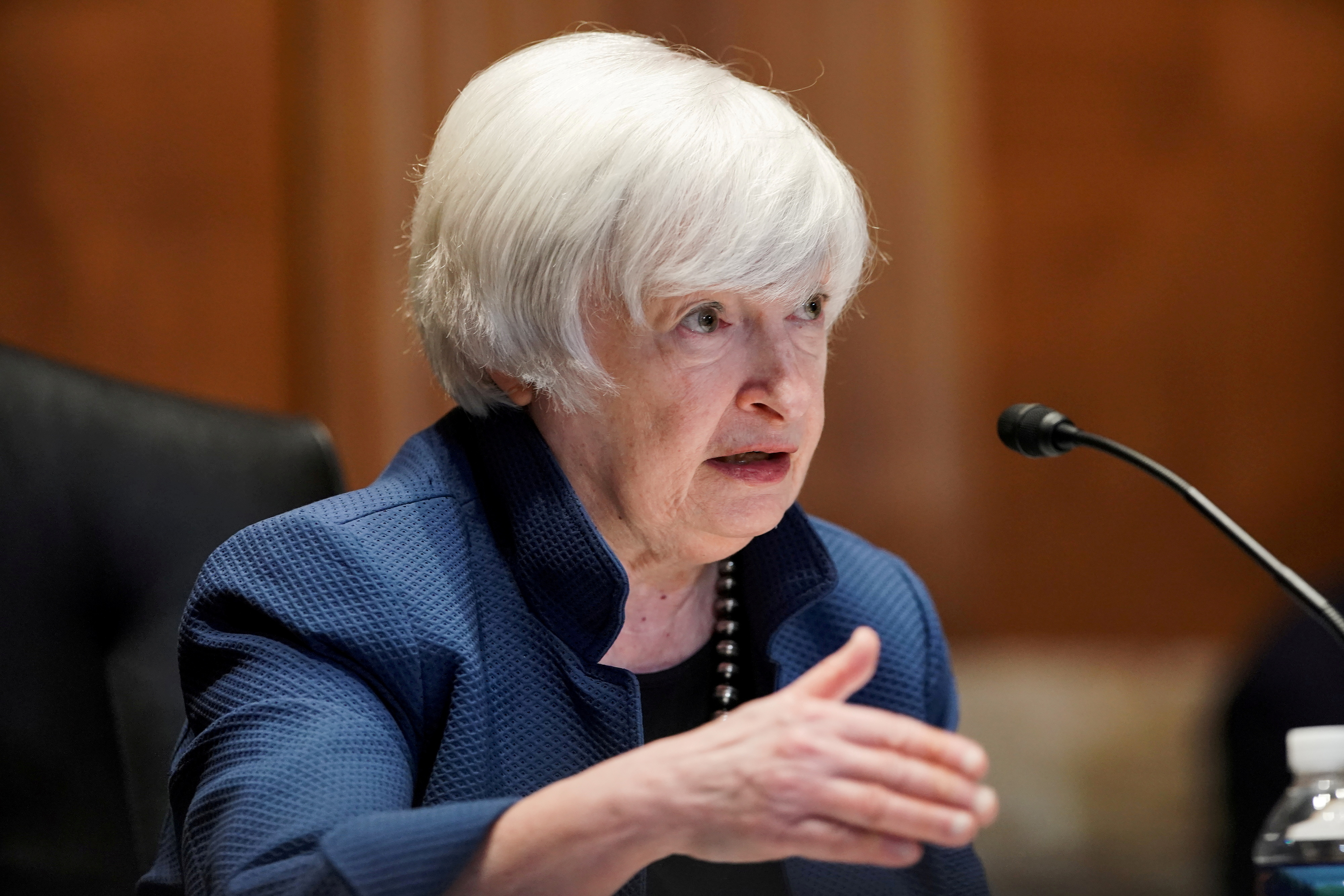 U.S. Treasury Secretary Janet Yellen answers questions during the Senate Appropriations Subcommittee hearing to examine the FY22 budget request for the Treasury Department on Capitol Hill in Washington, DC, U.S., June 23, 2021.  Greg Nash/Pool via REUTERS/File Photo