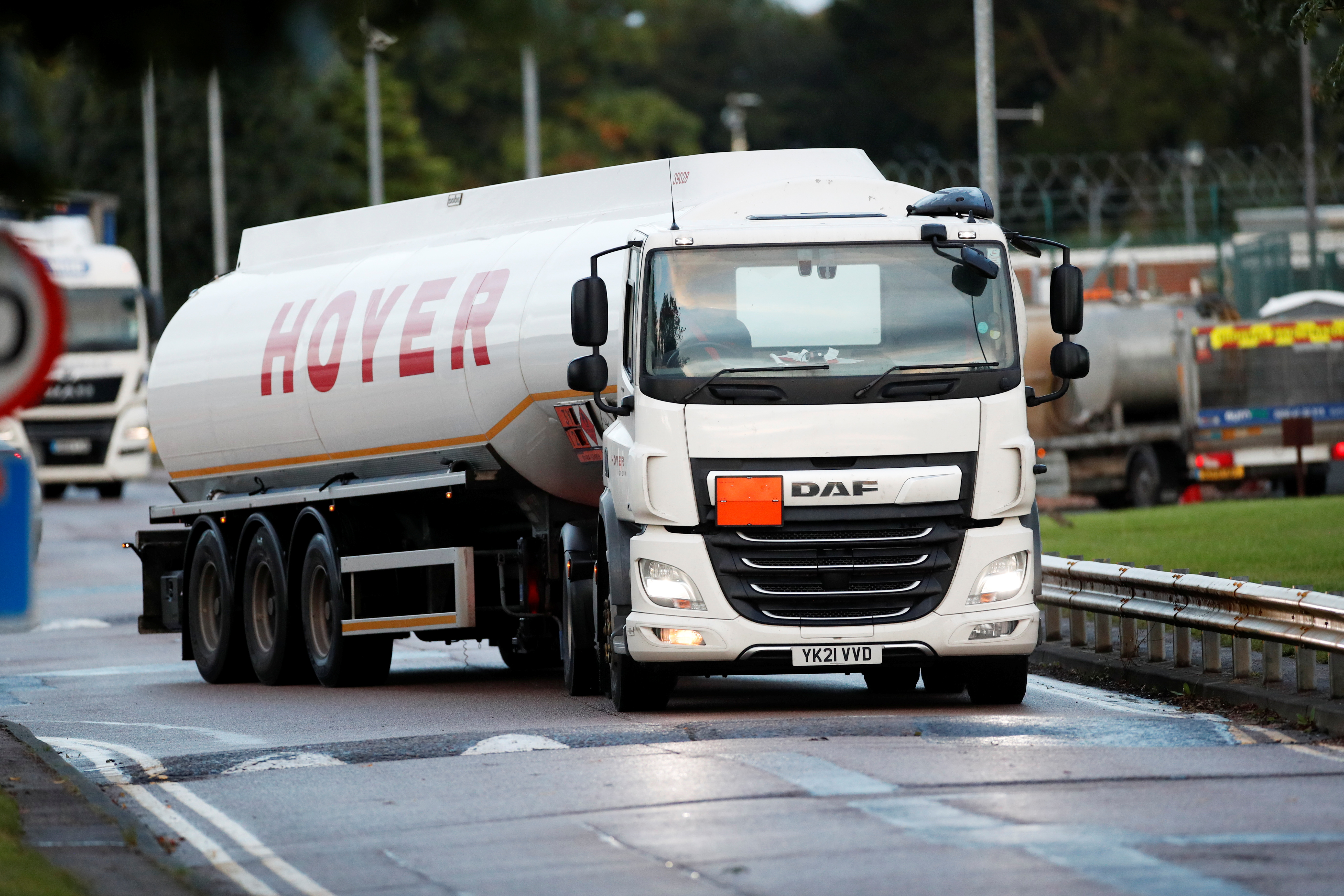 A tanker is driven to the Buncefield Oil Depot in Hemel Hempstead, Britain, October 4, 2021. REUTERS/Andrew Boyers