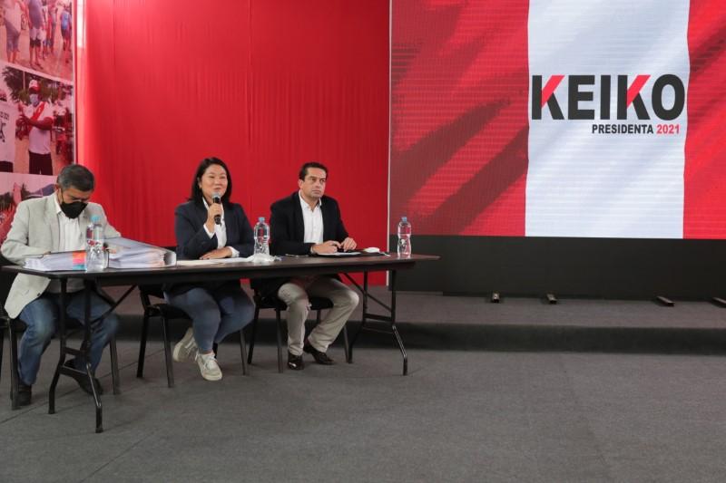 Peru's presidential candidate Keiko Fujimori addresses the media, in Lima, Peru June 17, 2021. REUTERS/Sebastian Castaneda