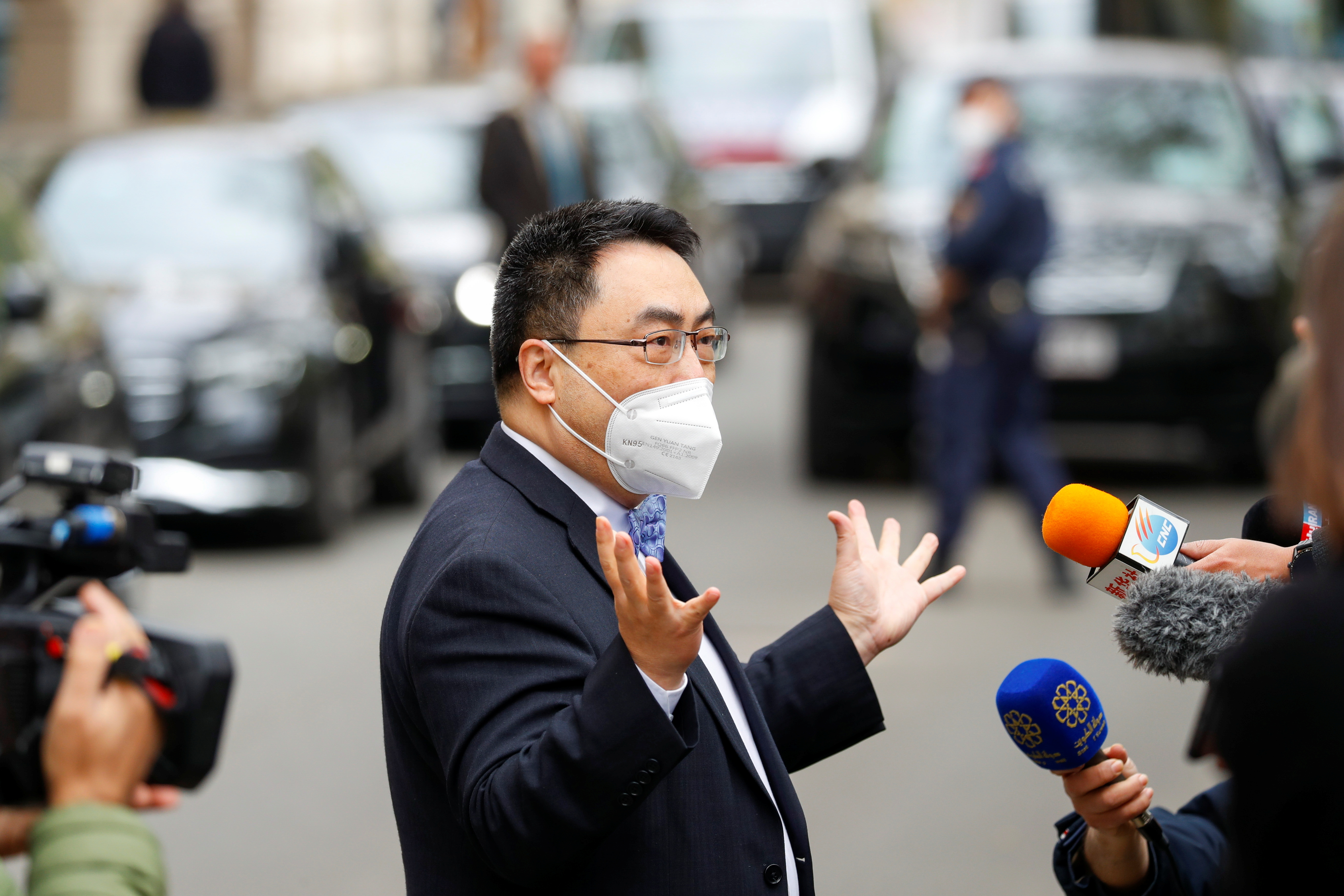 The ambassador of the Permanent Mission of the People's Republic of China to the United Nations, Wang Qun, speaks to the media as the meeting of the JCPOA Joint Commission takes place in Vienna, Austria, April 27, 2021. REUTERS/Leonhard Foeger